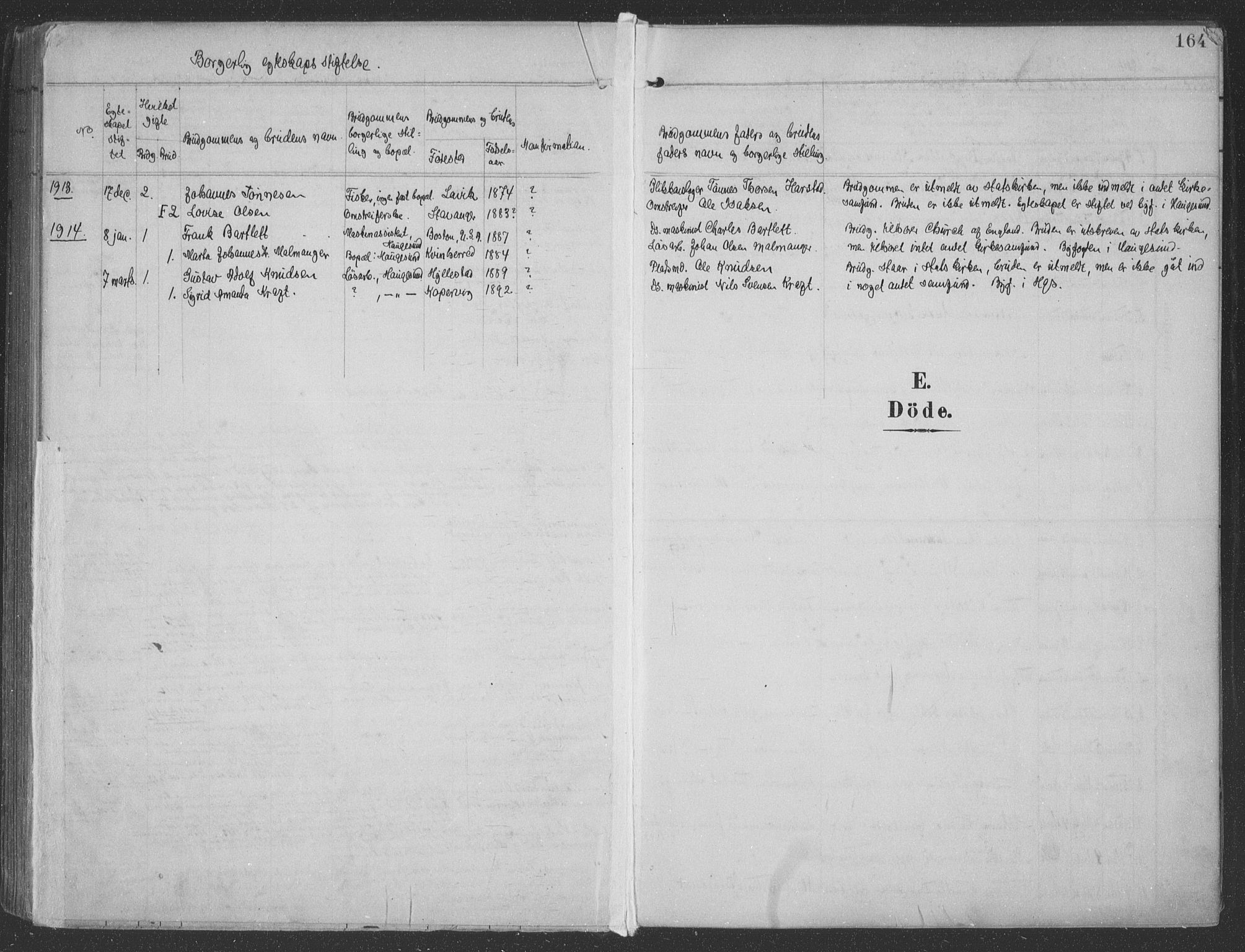 SAST, Haugesund sokneprestkontor, H/Ha/Haa/L0007: Ministerialbok nr. A 7, 1904-1916, s. 164