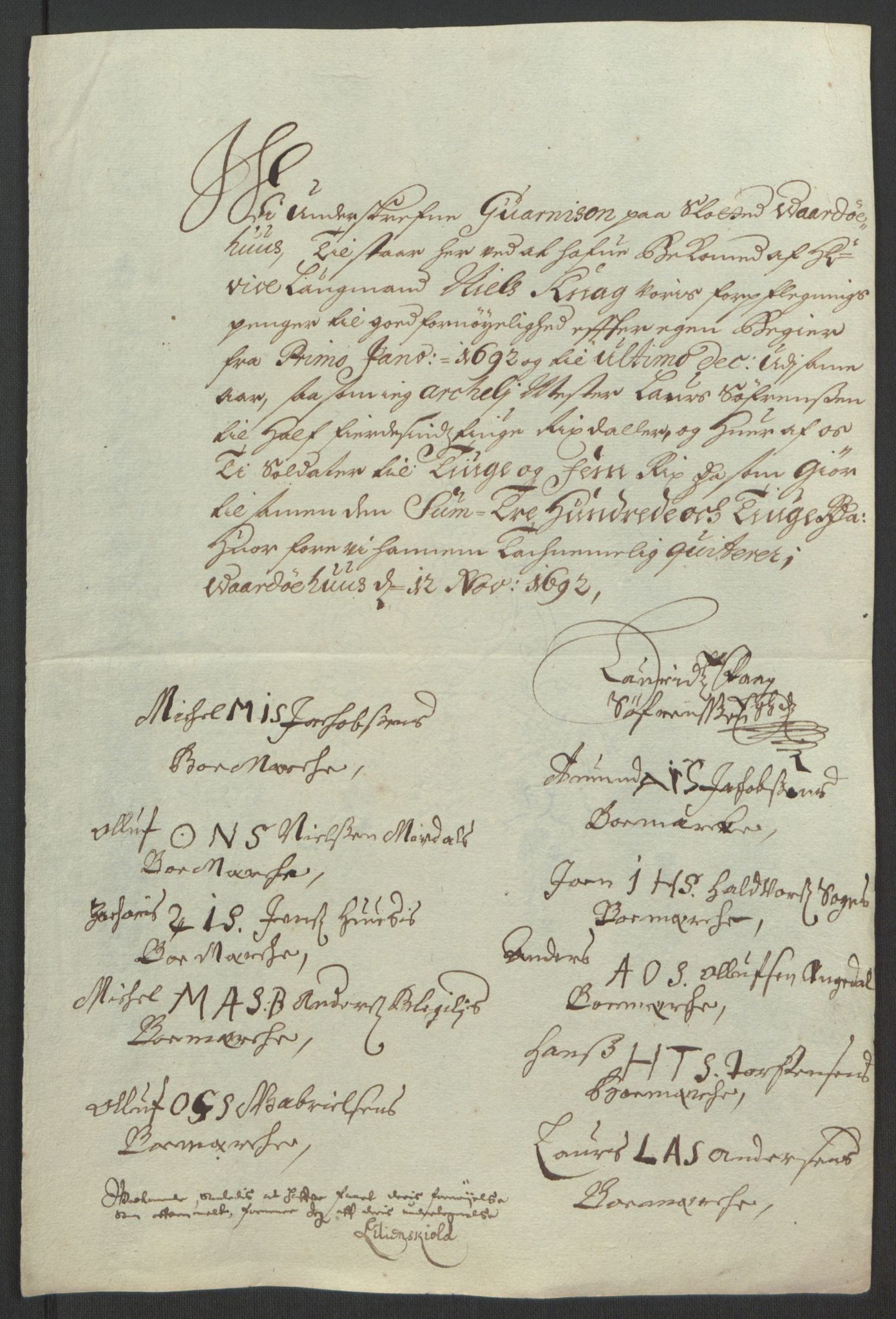 RA, Rentekammeret inntil 1814, Reviderte regnskaper, Fogderegnskap, R69/L4851: Fogderegnskap Finnmark/Vardøhus, 1691-1700, s. 217
