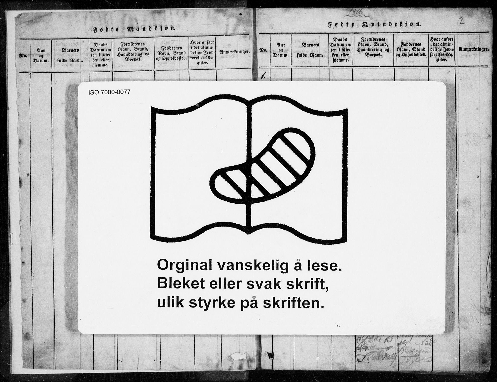 SAST, Egersund sokneprestkontor, Ministerialbok nr. A 8, 1816-1847, s. 2