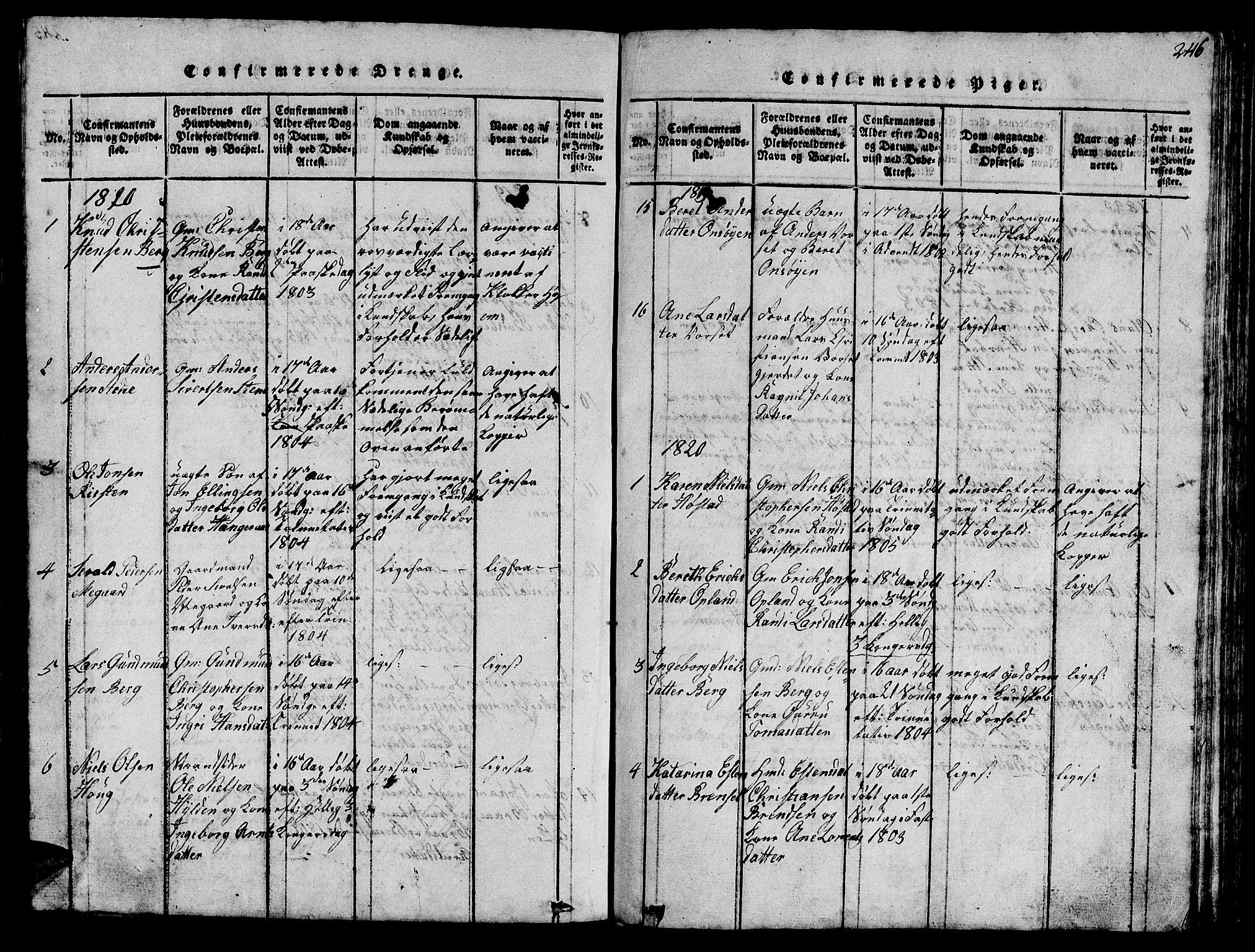 SAT, Ministerialprotokoller, klokkerbøker og fødselsregistre - Sør-Trøndelag, 612/L0385: Klokkerbok nr. 612C01, 1816-1845, s. 246