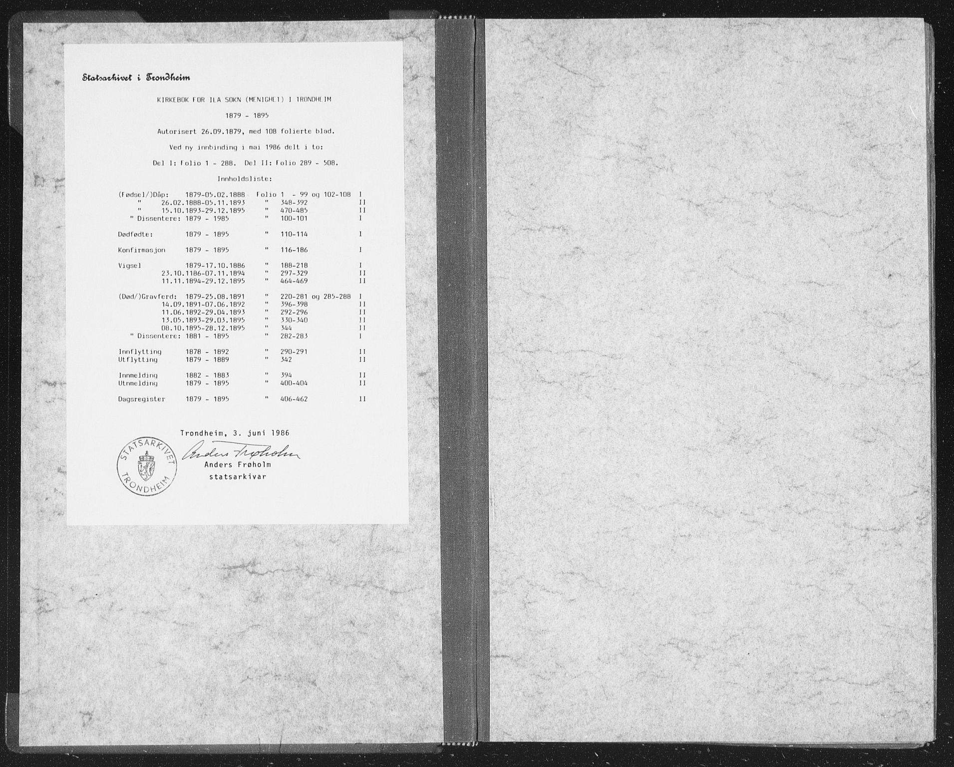 SAT, Ministerialprotokoller, klokkerbøker og fødselsregistre - Sør-Trøndelag, 603/L0162: Ministerialbok nr. 603A01, 1879-1895