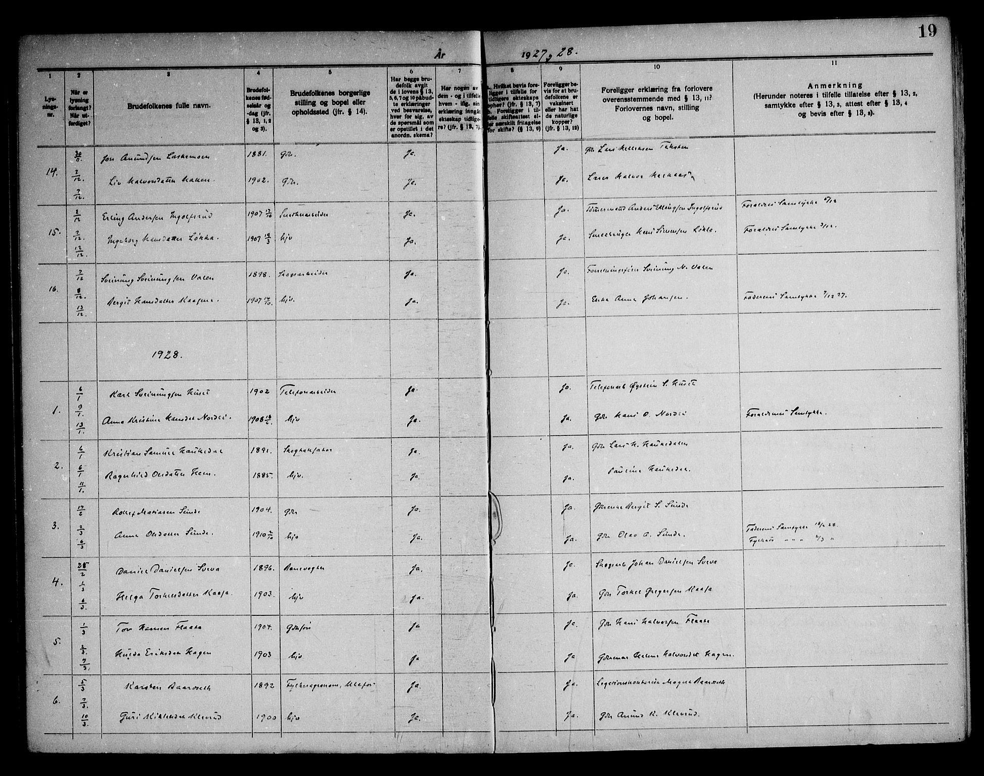 SAKO, Sauherad kirkebøker, H/Ha/L0001: Lysningsprotokoll nr. 1, 1919-1960, s. 19