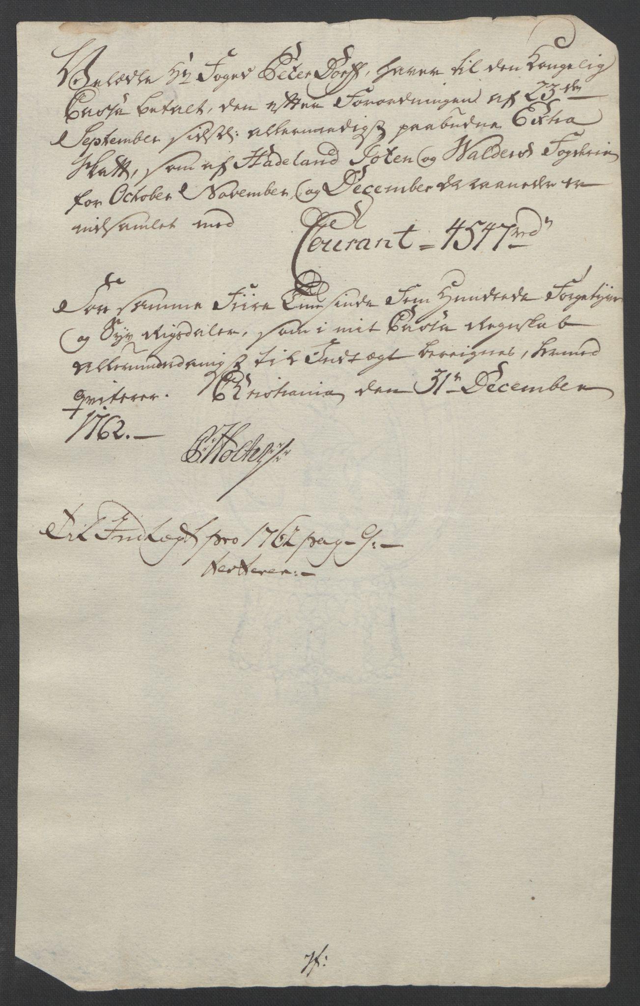 RA, Rentekammeret inntil 1814, Reviderte regnskaper, Fogderegnskap, R19/L1399: Fogderegnskap Toten, Hadeland og Vardal, 1762-1783, s. 15
