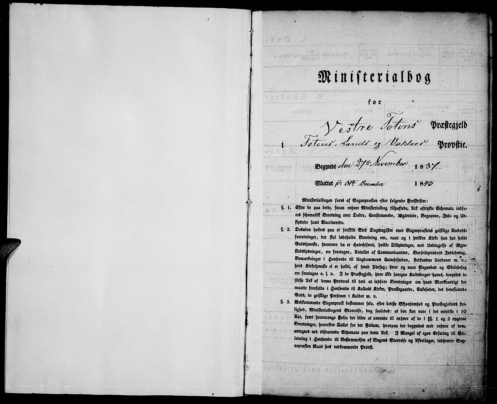 SAH, Vestre Toten prestekontor, H/Ha/Haa/L0003: Ministerialbok nr. 3, 1836-1843
