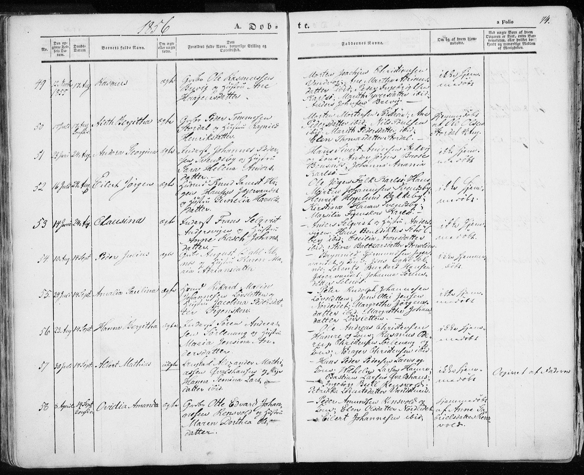 SATØ, Karlsøy sokneprestembete, H/Ha/Haa/L0003kirke: Ministerialbok nr. 3, 1843-1860, s. 74