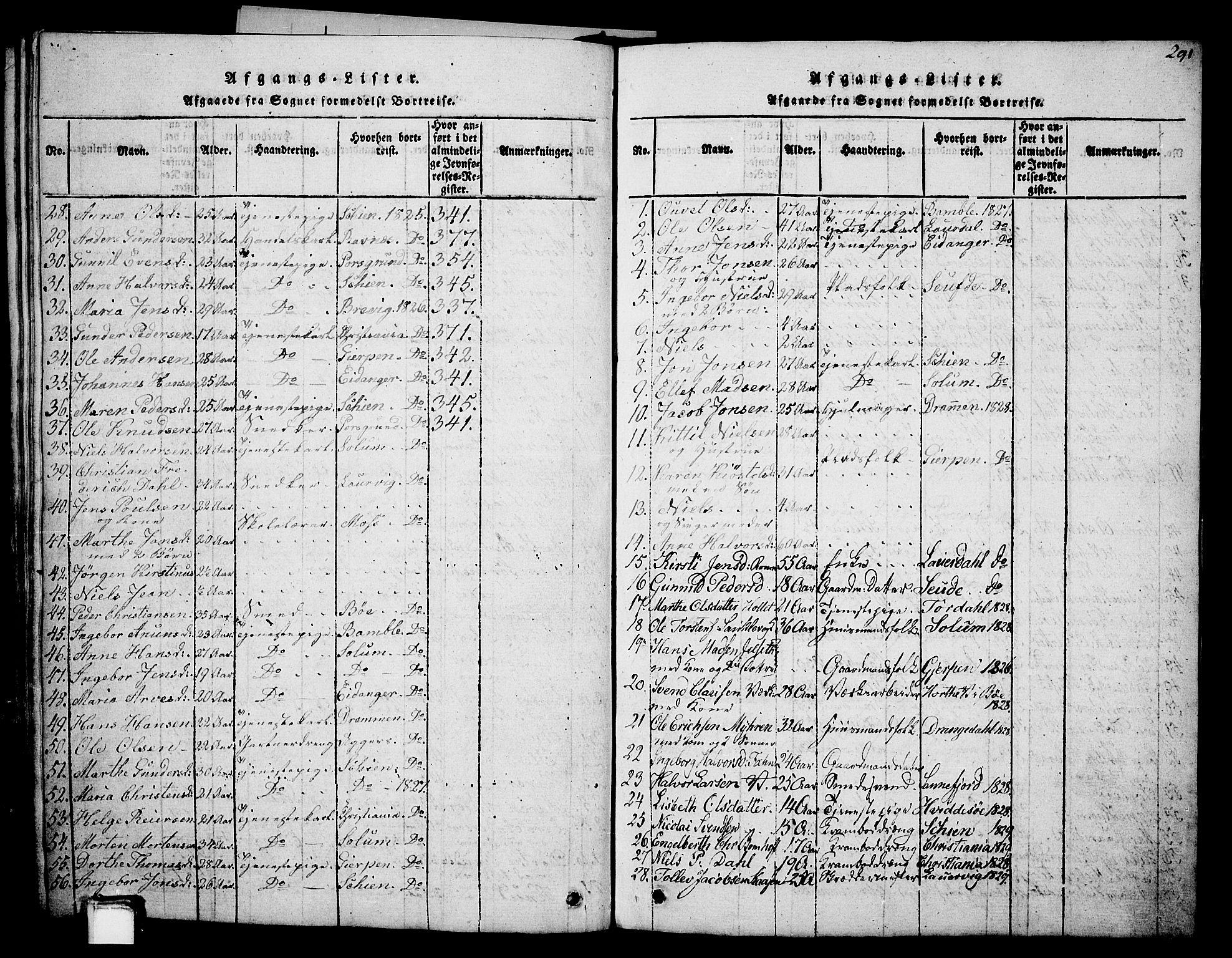 SAKO, Holla kirkebøker, G/Ga/L0001: Klokkerbok nr. I 1, 1814-1830, s. 291