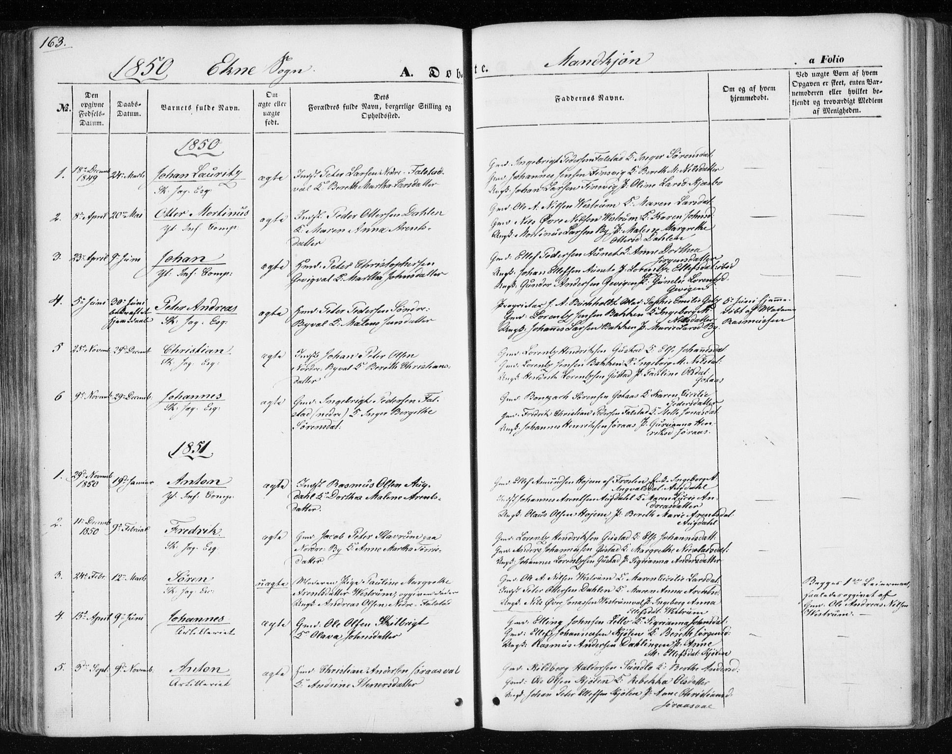 SAT, Ministerialprotokoller, klokkerbøker og fødselsregistre - Nord-Trøndelag, 717/L0154: Ministerialbok nr. 717A07 /3, 1850-1862, s. 163