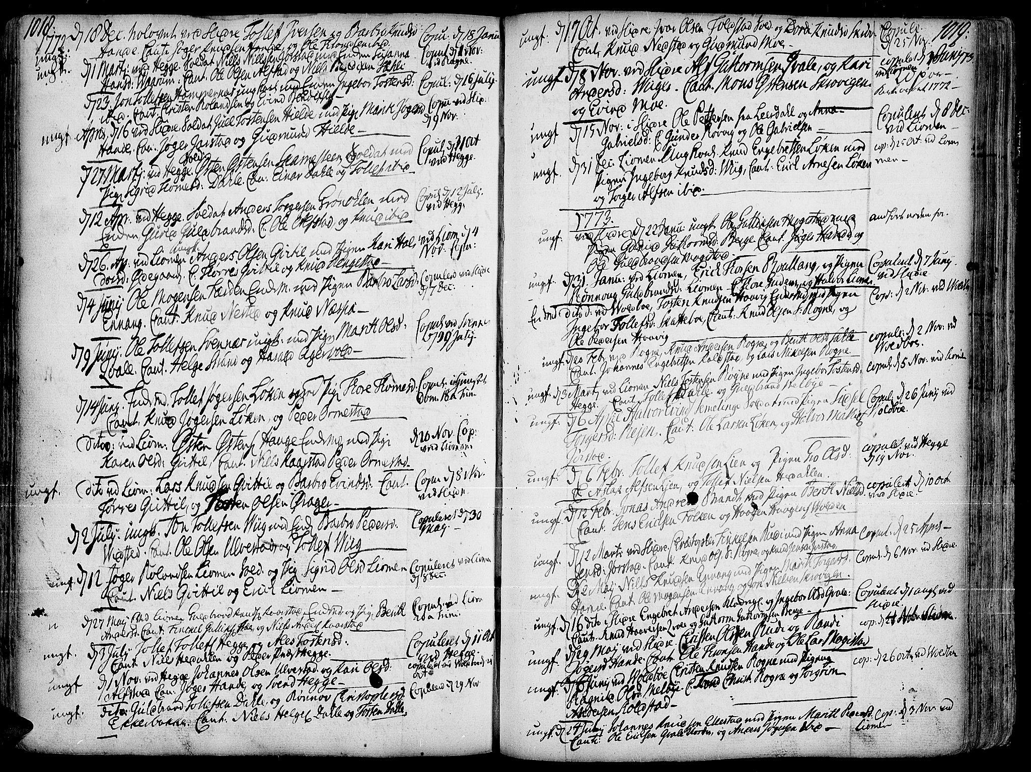 SAH, Slidre prestekontor, Ministerialbok nr. 1, 1724-1814, s. 1018-1019