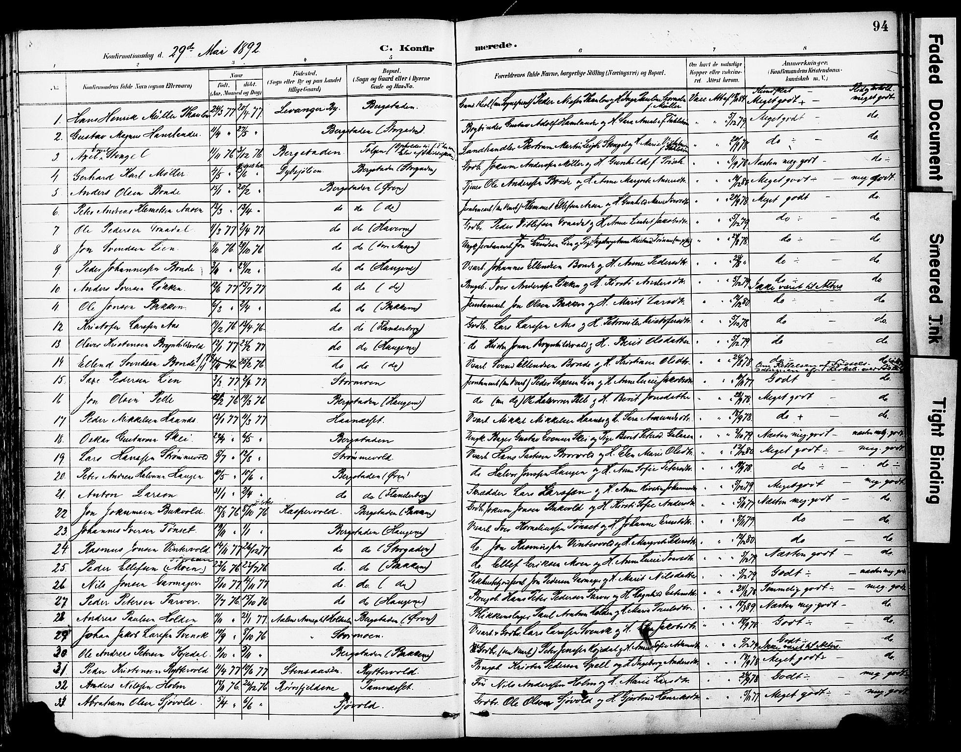 SAT, Ministerialprotokoller, klokkerbøker og fødselsregistre - Sør-Trøndelag, 681/L0935: Ministerialbok nr. 681A13, 1890-1898, s. 94