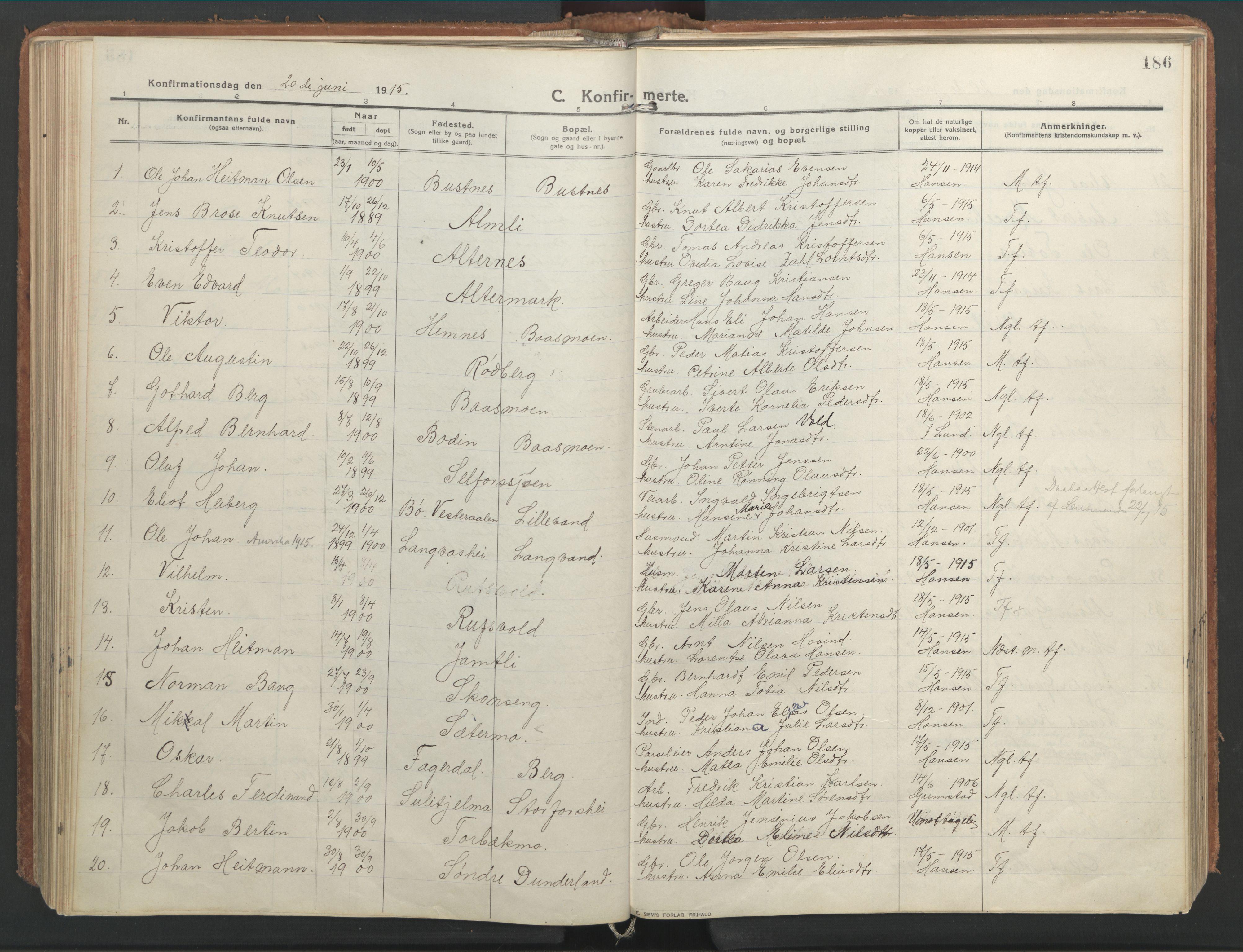 SAT, Ministerialprotokoller, klokkerbøker og fødselsregistre - Nordland, 827/L0404: Ministerialbok nr. 827A16, 1912-1925, s. 186