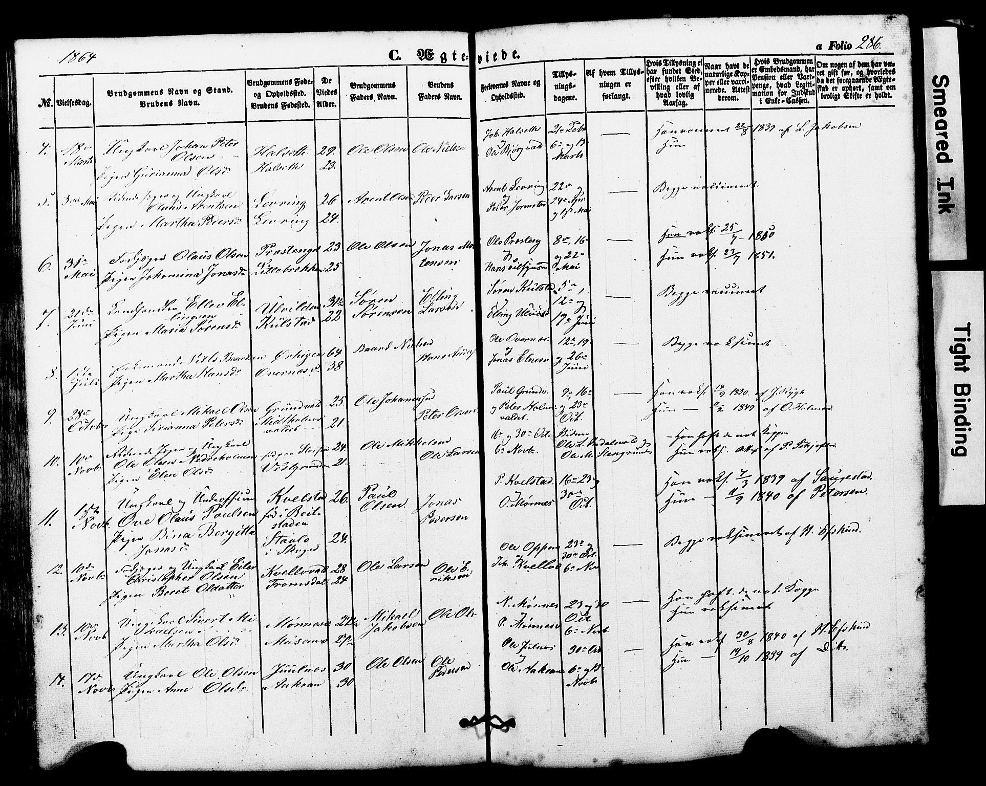 SAT, Ministerialprotokoller, klokkerbøker og fødselsregistre - Nord-Trøndelag, 724/L0268: Klokkerbok nr. 724C04, 1846-1878, s. 286