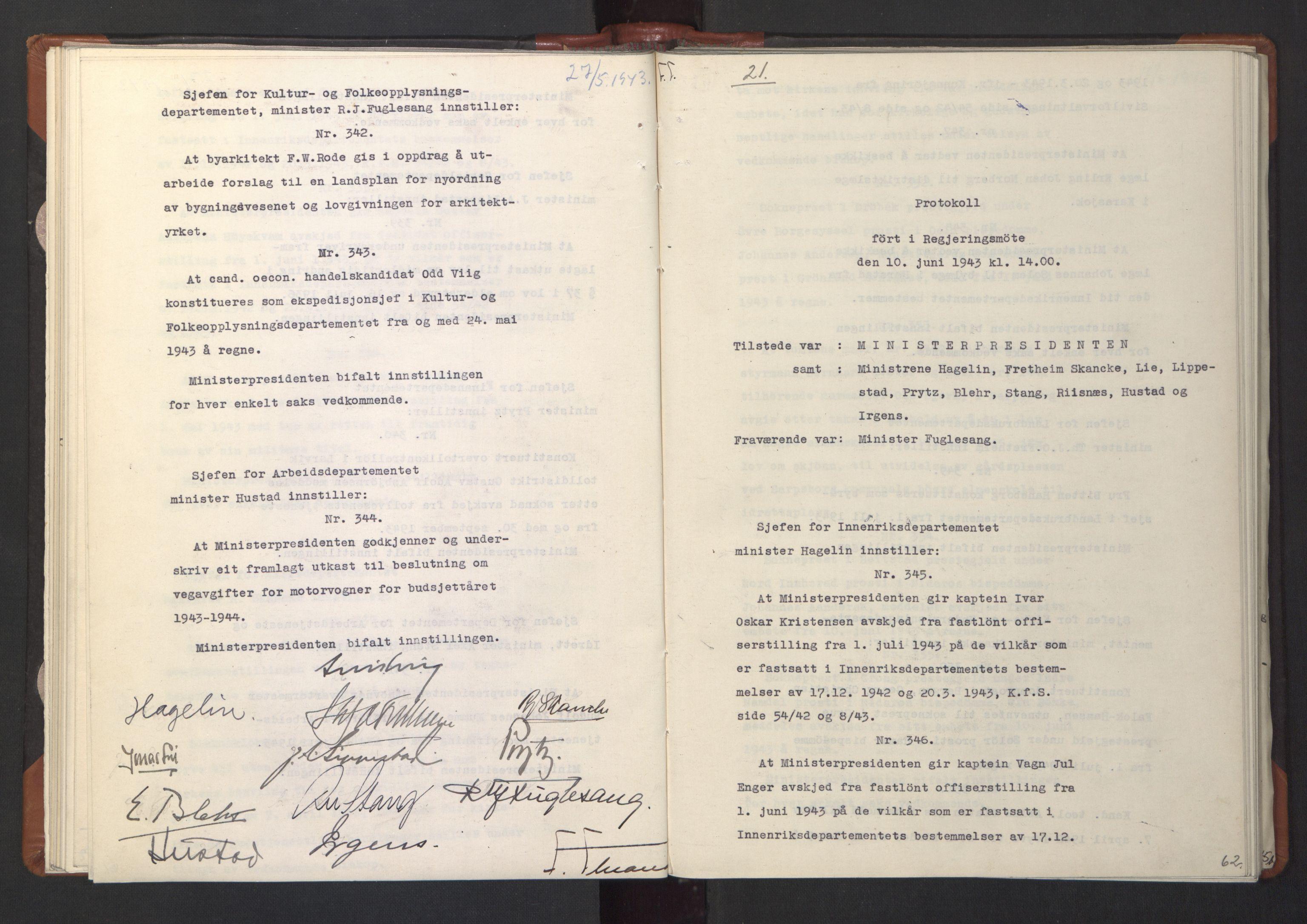 RA, NS-administrasjonen 1940-1945 (Statsrådsekretariatet, de kommisariske statsråder mm), D/Da/L0003: Vedtak (Beslutninger) nr. 1-746 og tillegg nr. 1-47 (RA. j.nr. 1394/1944, tilgangsnr. 8/1944, 1943, s. 61b-62a