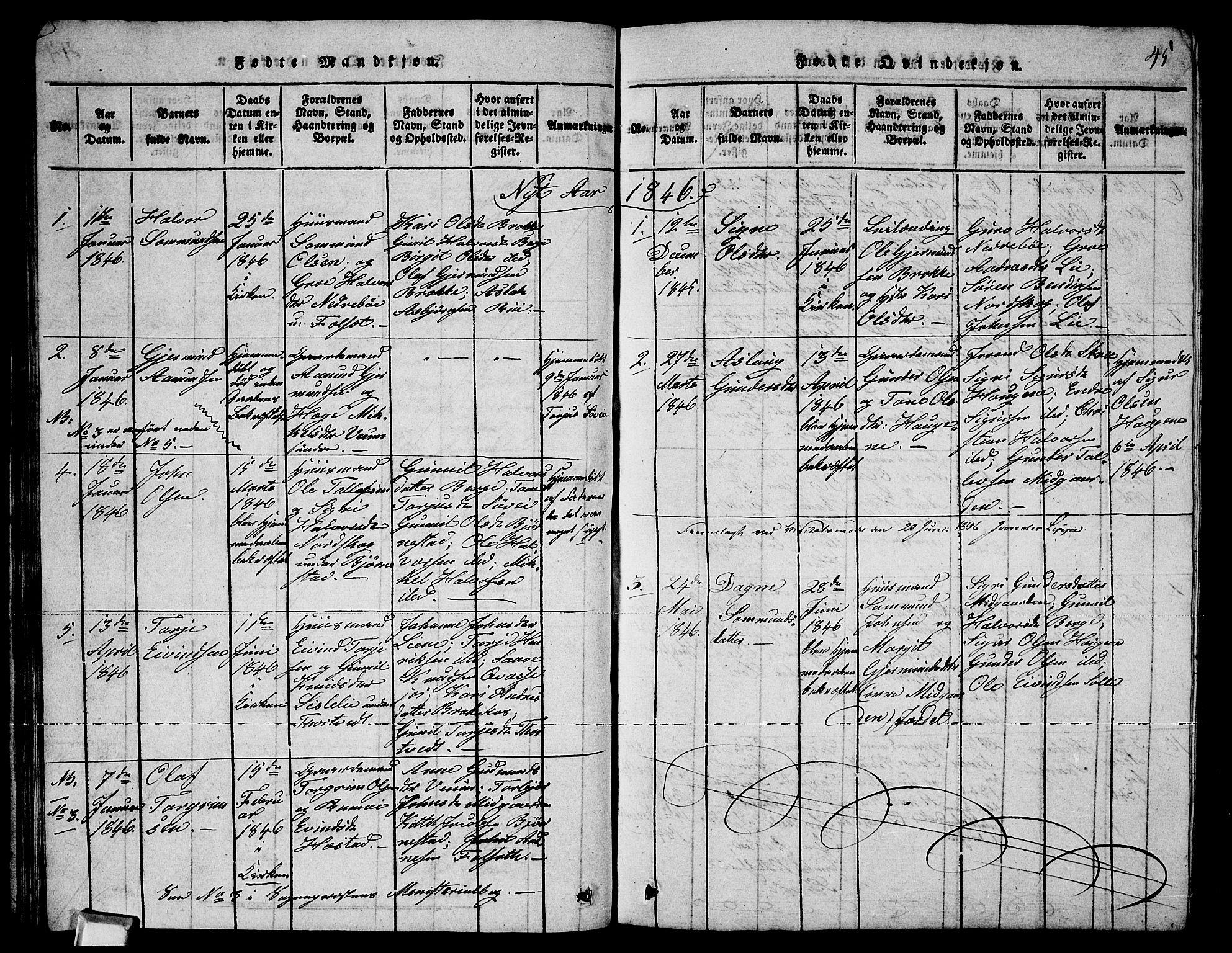 SAKO, Fyresdal kirkebøker, G/Ga/L0003: Klokkerbok nr. I 3, 1815-1863, s. 45