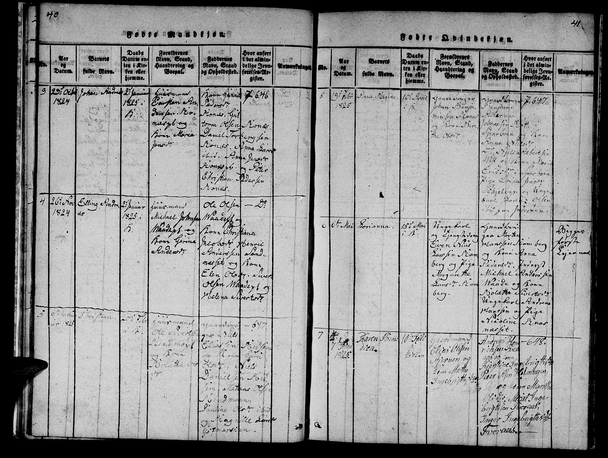 SAT, Ministerialprotokoller, klokkerbøker og fødselsregistre - Nord-Trøndelag, 745/L0433: Klokkerbok nr. 745C02, 1817-1825, s. 40-41