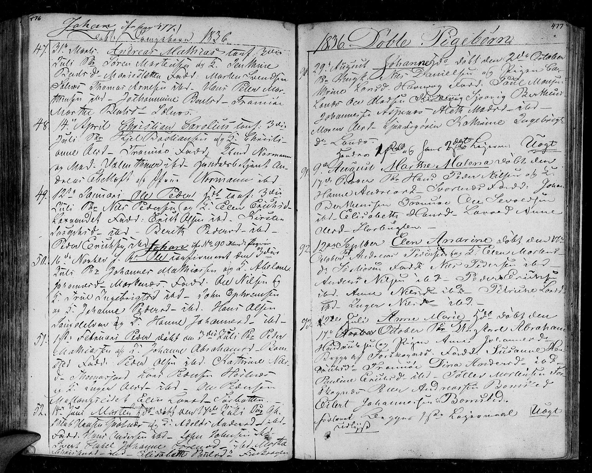 SATØ, Tromsø sokneprestkontor/stiftsprosti/domprosti, G/Ga/L0008kirke: Ministerialbok nr. 8, 1829-1837, s. 476-477