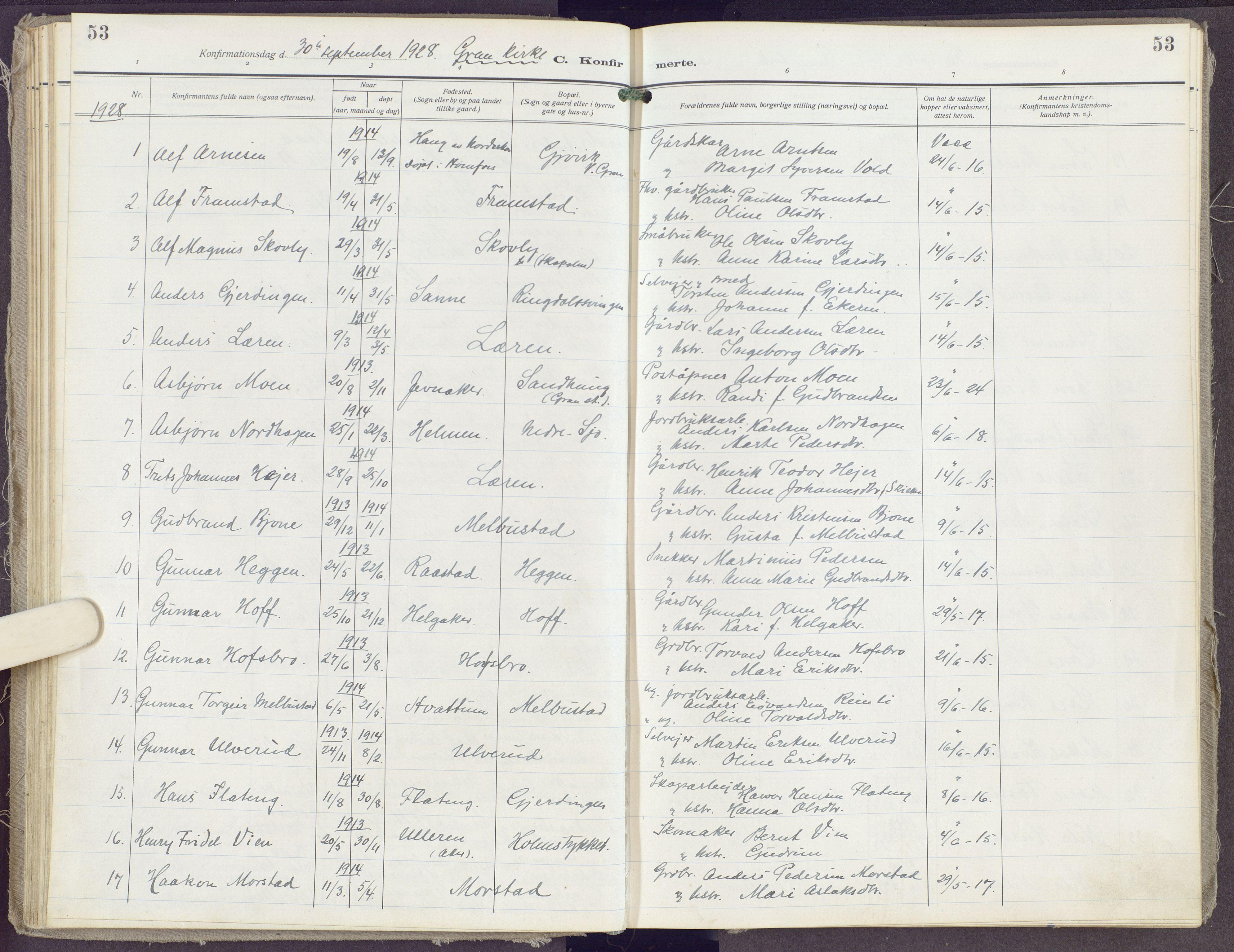 SAH, Gran prestekontor, Ministerialbok nr. 23, 1919-1938, s. 53