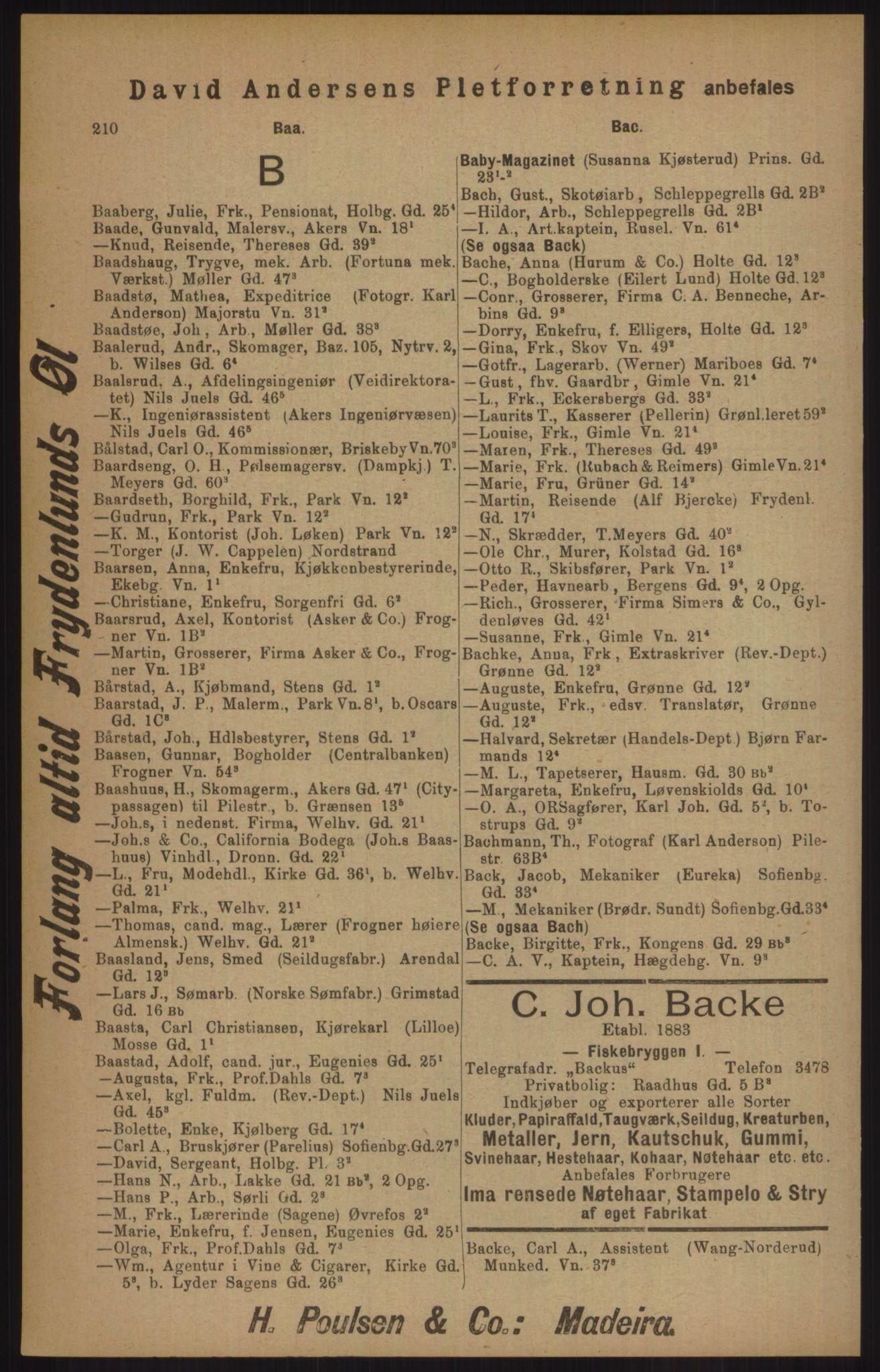RA, Kristiania adressebok (publikasjon)*, 1905, s. 210