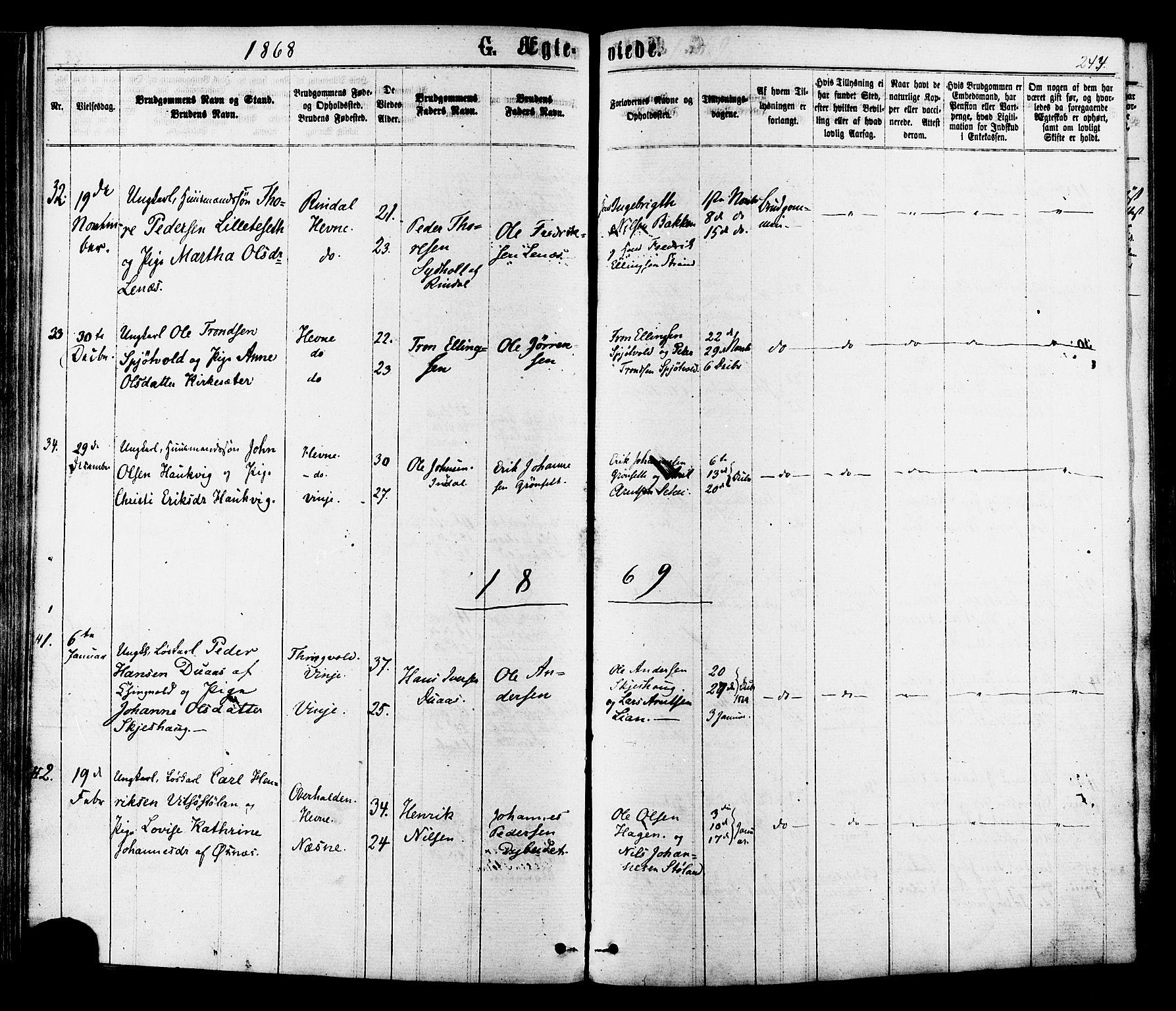 SAT, Ministerialprotokoller, klokkerbøker og fødselsregistre - Sør-Trøndelag, 630/L0495: Ministerialbok nr. 630A08, 1868-1878, s. 244