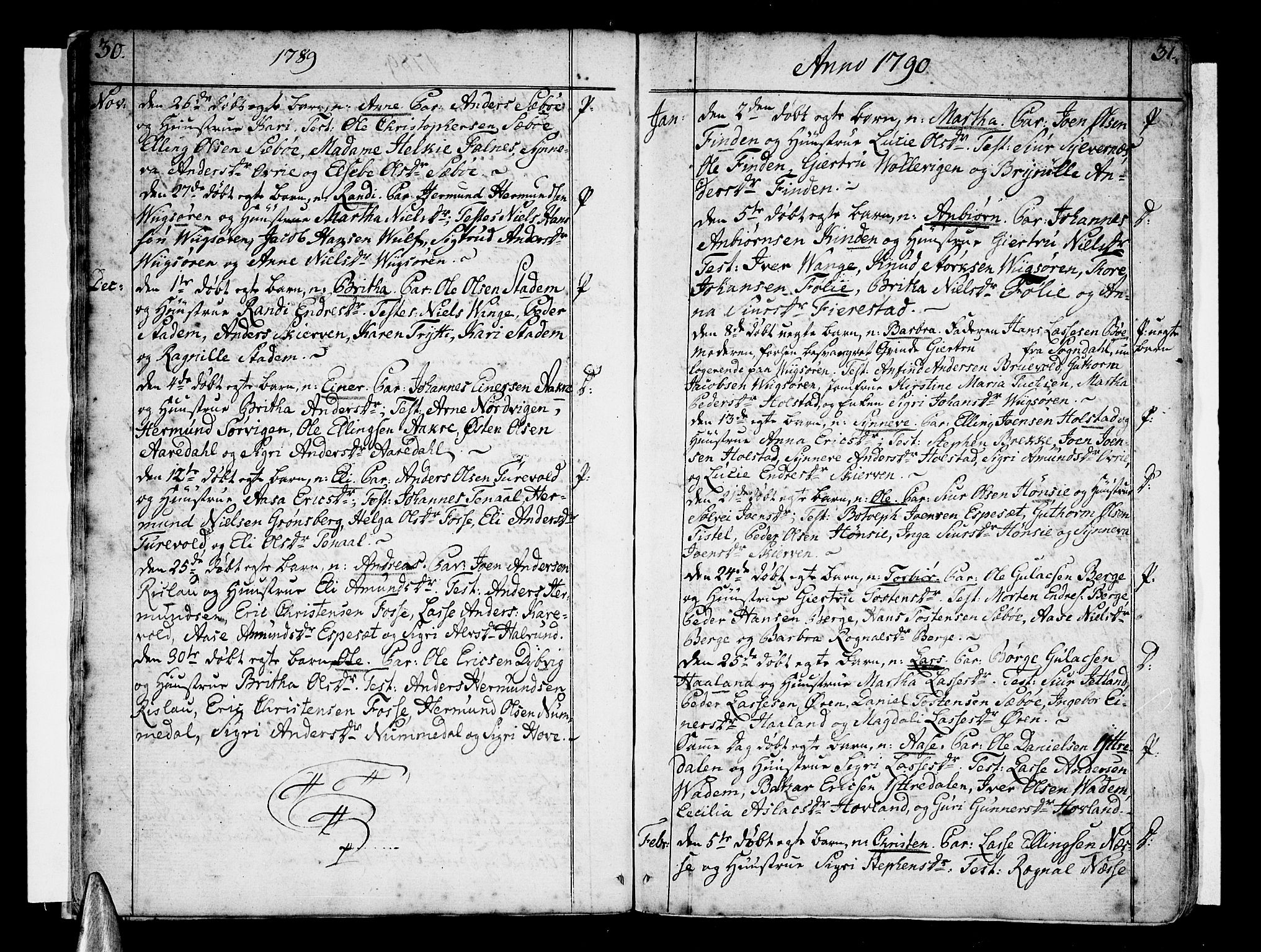 SAB, Vik Sokneprestembete, Ministerialbok nr. A 5, 1787-1820, s. 30-31