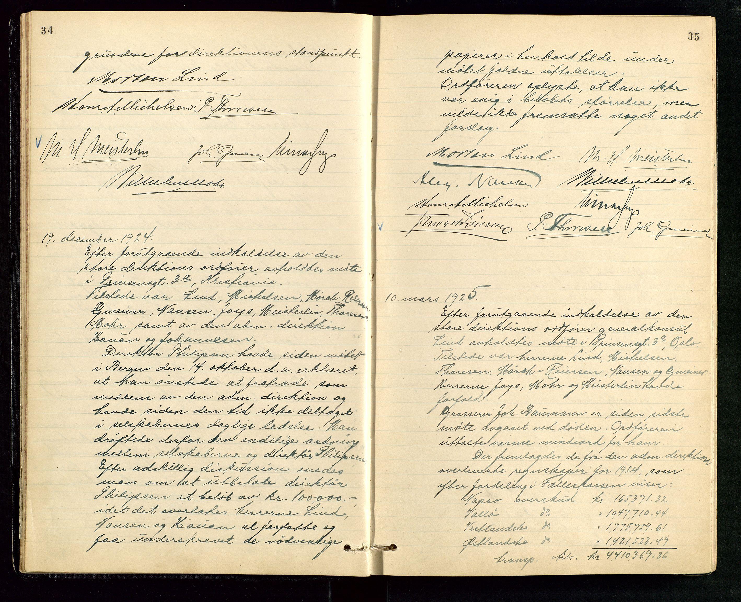 SAST, PA 1534 - Østlandske Petroleumscompagni A/S, A/Aa/L0006: Direksjonsprotokoller, 1922-1952, s. 34-35