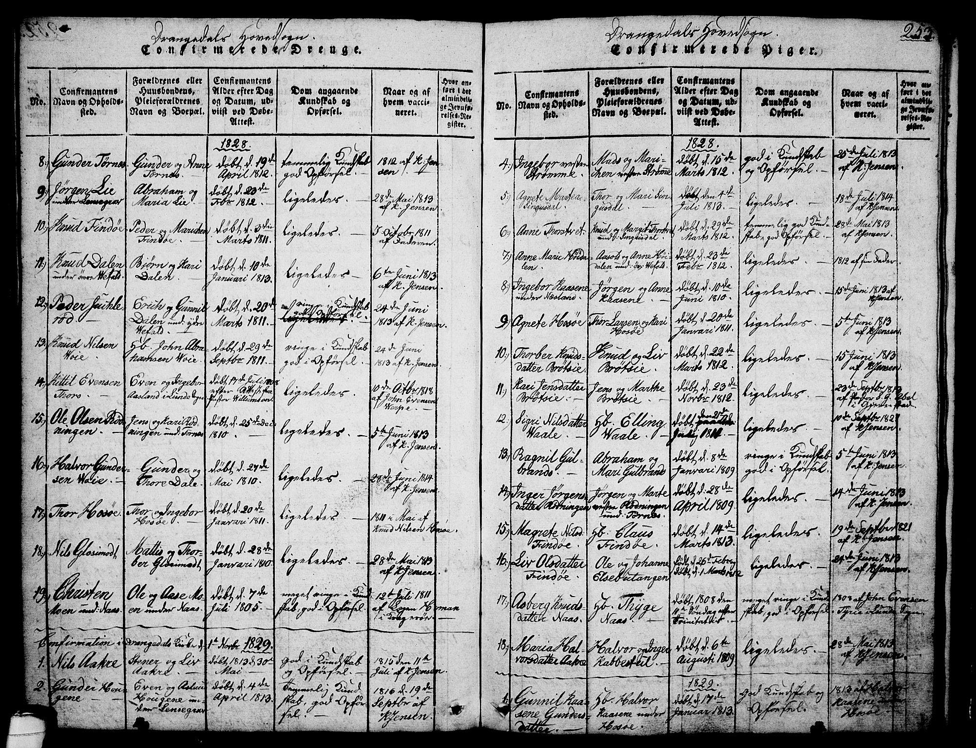 SAKO, Drangedal kirkebøker, G/Ga/L0001: Klokkerbok nr. I 1 /1, 1814-1856, s. 253