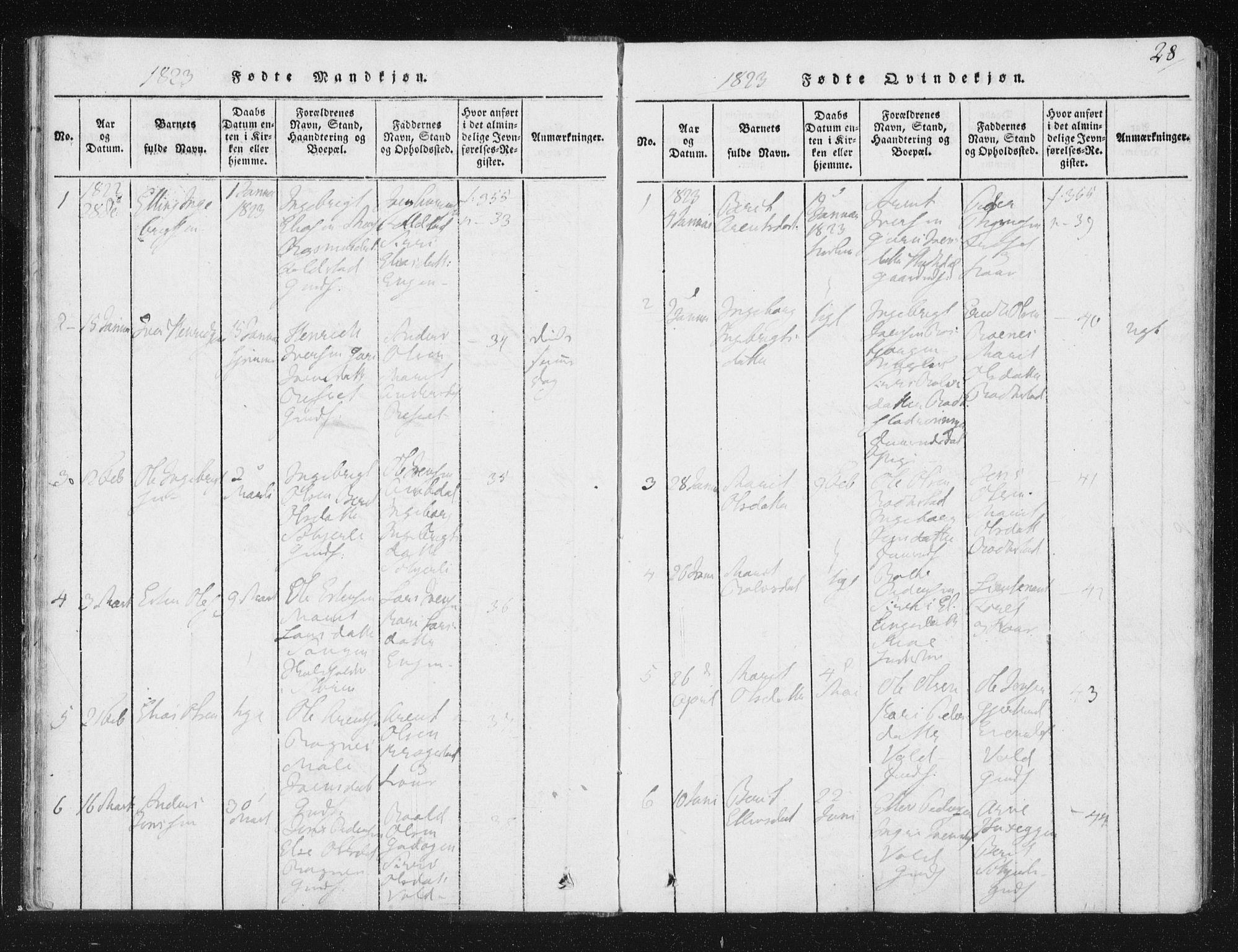 SAT, Ministerialprotokoller, klokkerbøker og fødselsregistre - Sør-Trøndelag, 687/L0996: Ministerialbok nr. 687A04, 1816-1842, s. 28