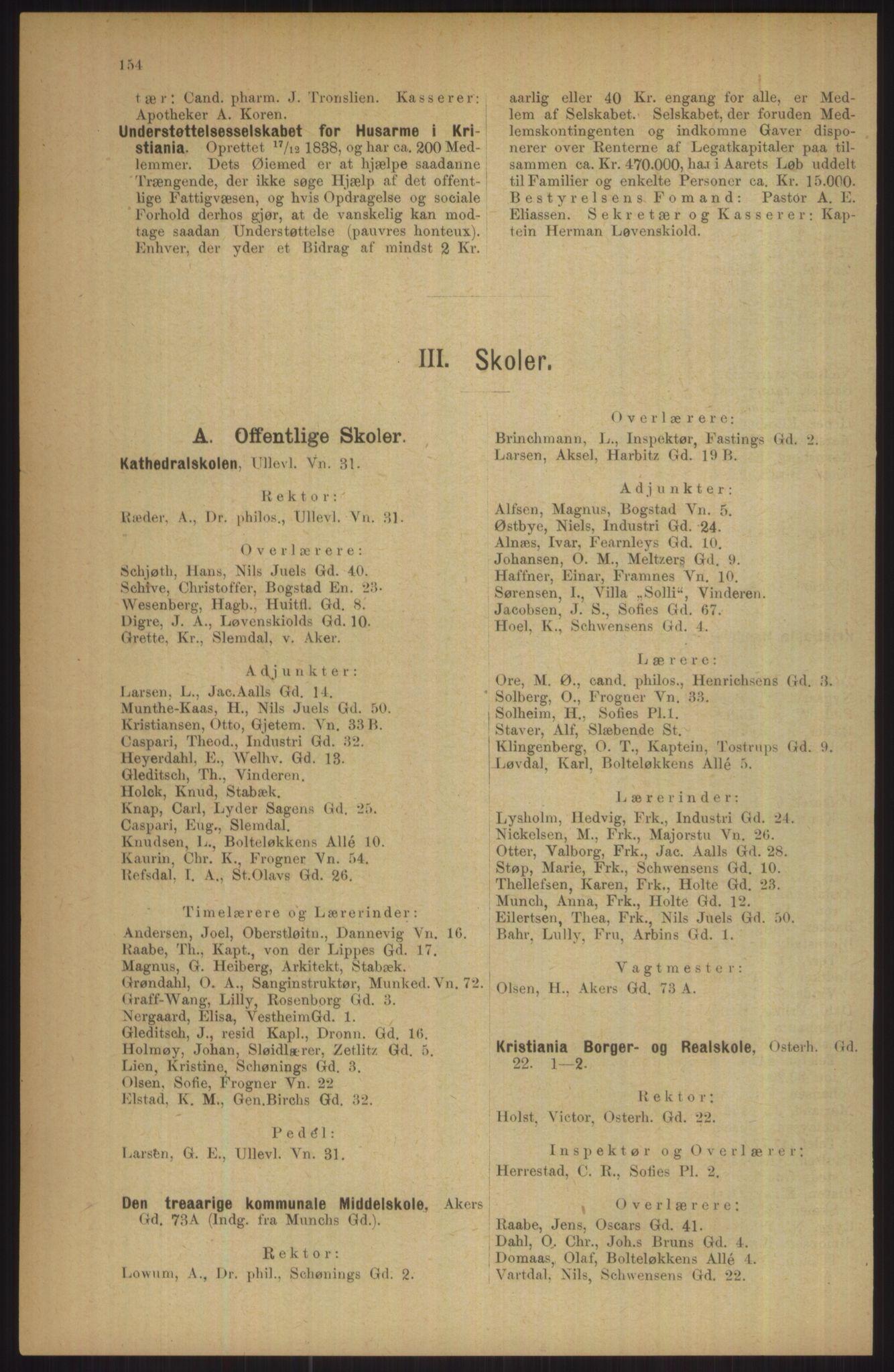 RA, Kristiania adressebok (publikasjon)*, 1911, s. 154