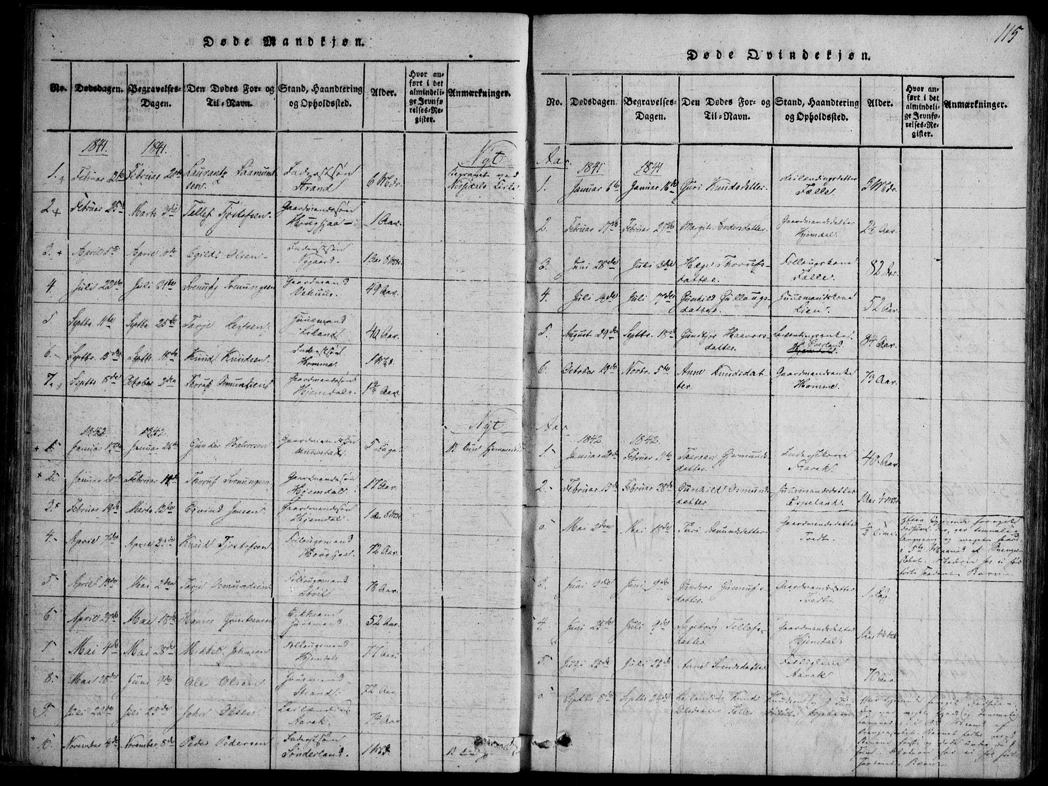 SAKO, Nissedal kirkebøker, F/Fb/L0001: Ministerialbok nr. II 1, 1814-1845, s. 115