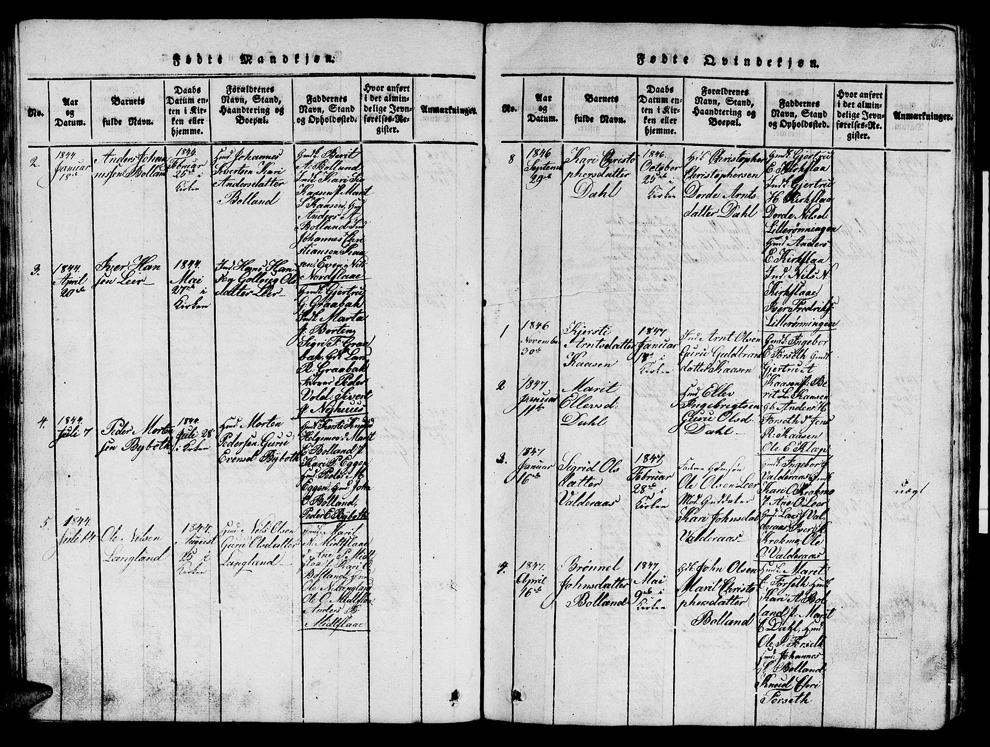 SAT, Ministerialprotokoller, klokkerbøker og fødselsregistre - Sør-Trøndelag, 693/L1121: Klokkerbok nr. 693C02, 1816-1869, s. 61