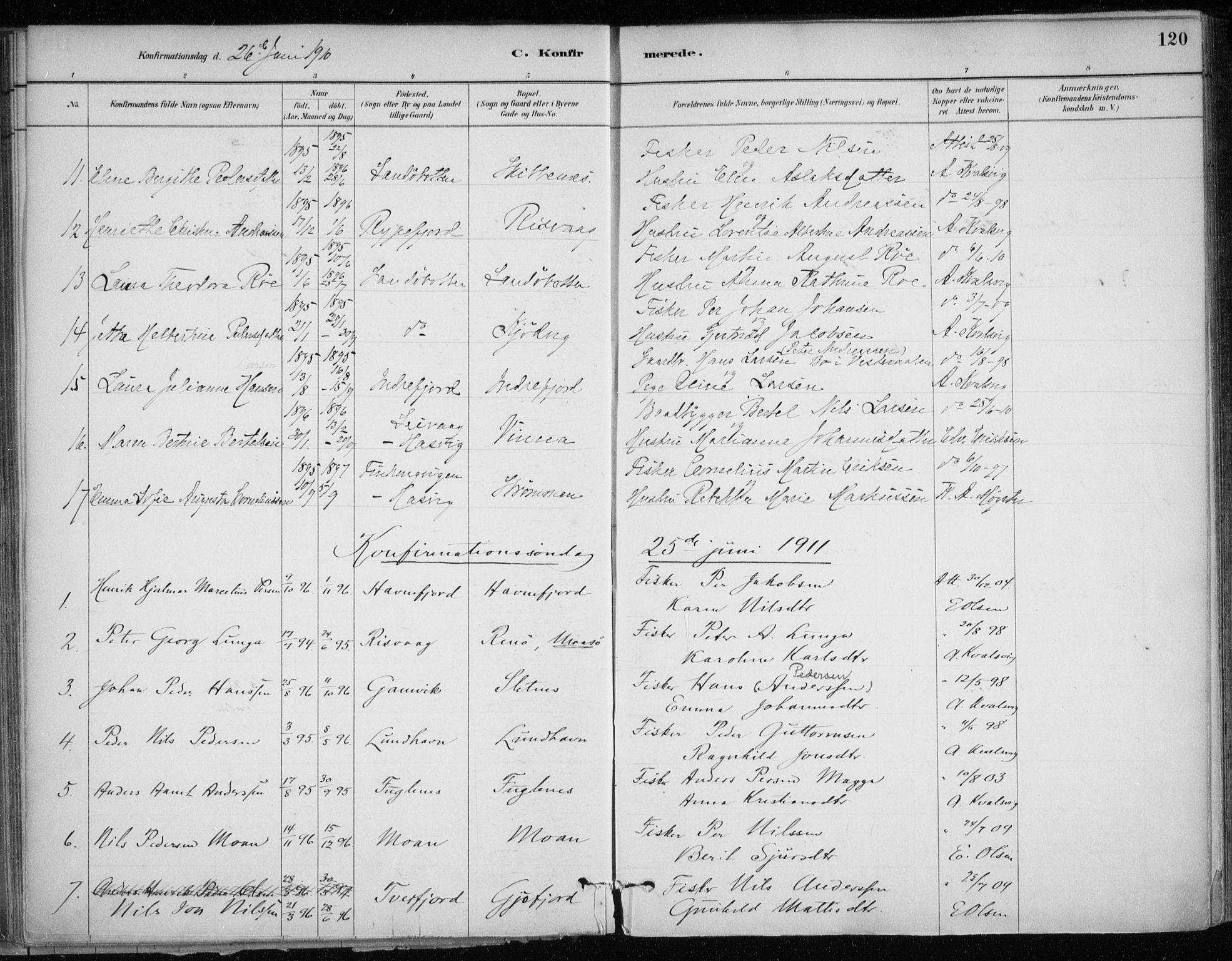 SATØ, Hammerfest sokneprestkontor, H/Ha/L0013.kirke: Ministerialbok nr. 13, 1898-1917, s. 120