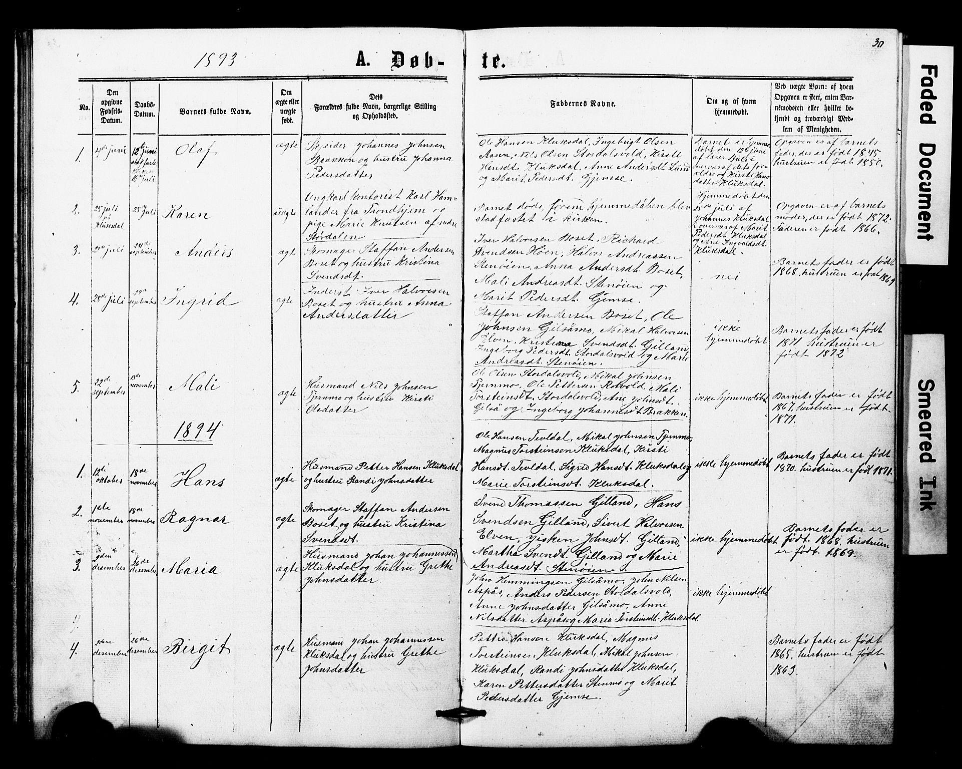 SAT, Ministerialprotokoller, klokkerbøker og fødselsregistre - Nord-Trøndelag, 707/L0052: Klokkerbok nr. 707C01, 1864-1897, s. 30
