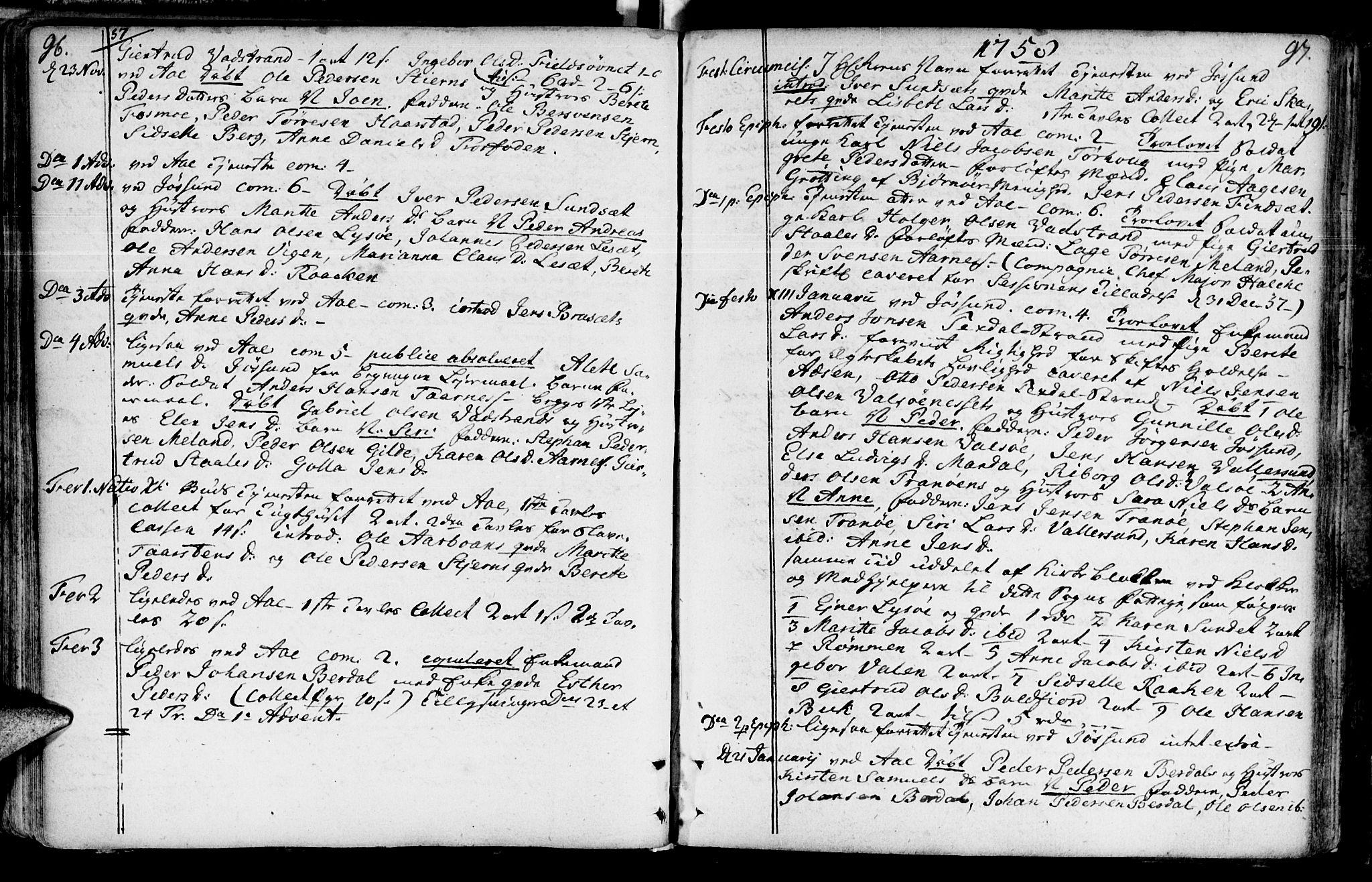 SAT, Ministerialprotokoller, klokkerbøker og fødselsregistre - Sør-Trøndelag, 655/L0672: Ministerialbok nr. 655A01, 1750-1779, s. 96-97