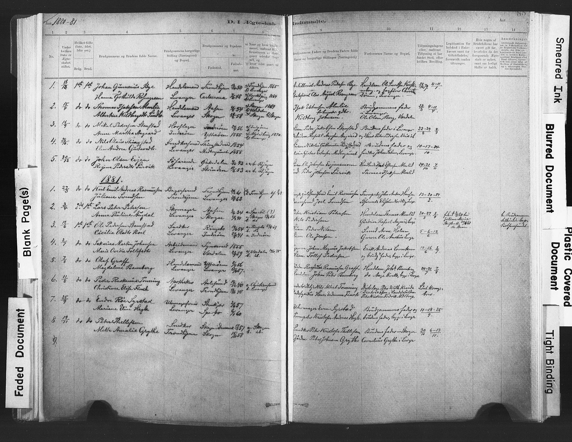 SAT, Ministerialprotokoller, klokkerbøker og fødselsregistre - Nord-Trøndelag, 720/L0189: Ministerialbok nr. 720A05, 1880-1911, s. 88