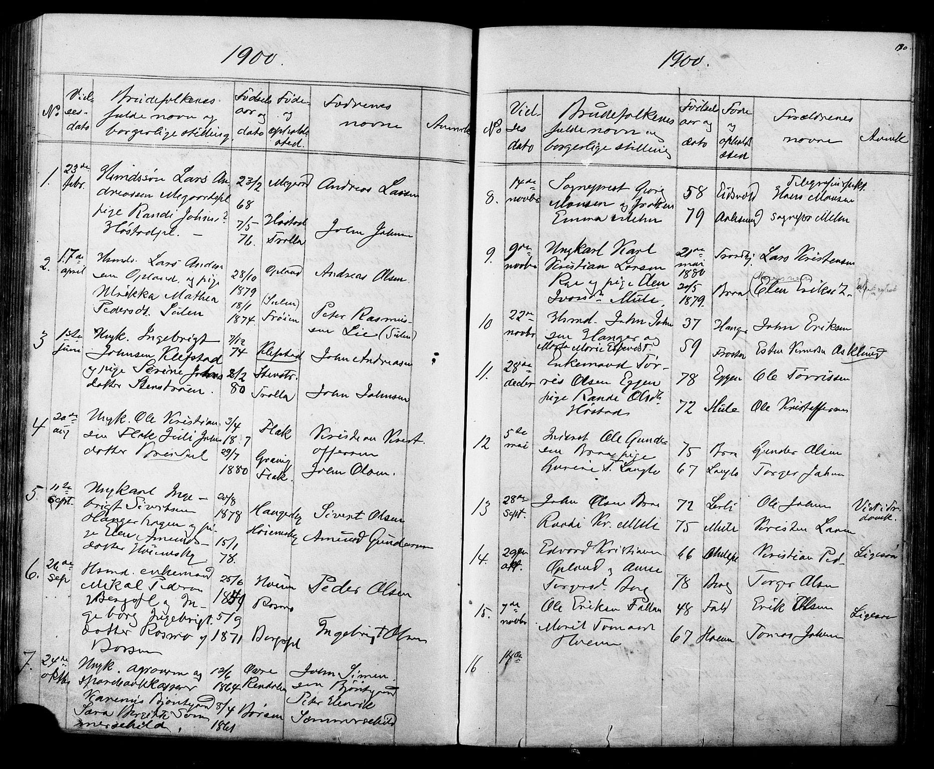 SAT, Ministerialprotokoller, klokkerbøker og fødselsregistre - Sør-Trøndelag, 612/L0387: Klokkerbok nr. 612C03, 1874-1908, s. 190