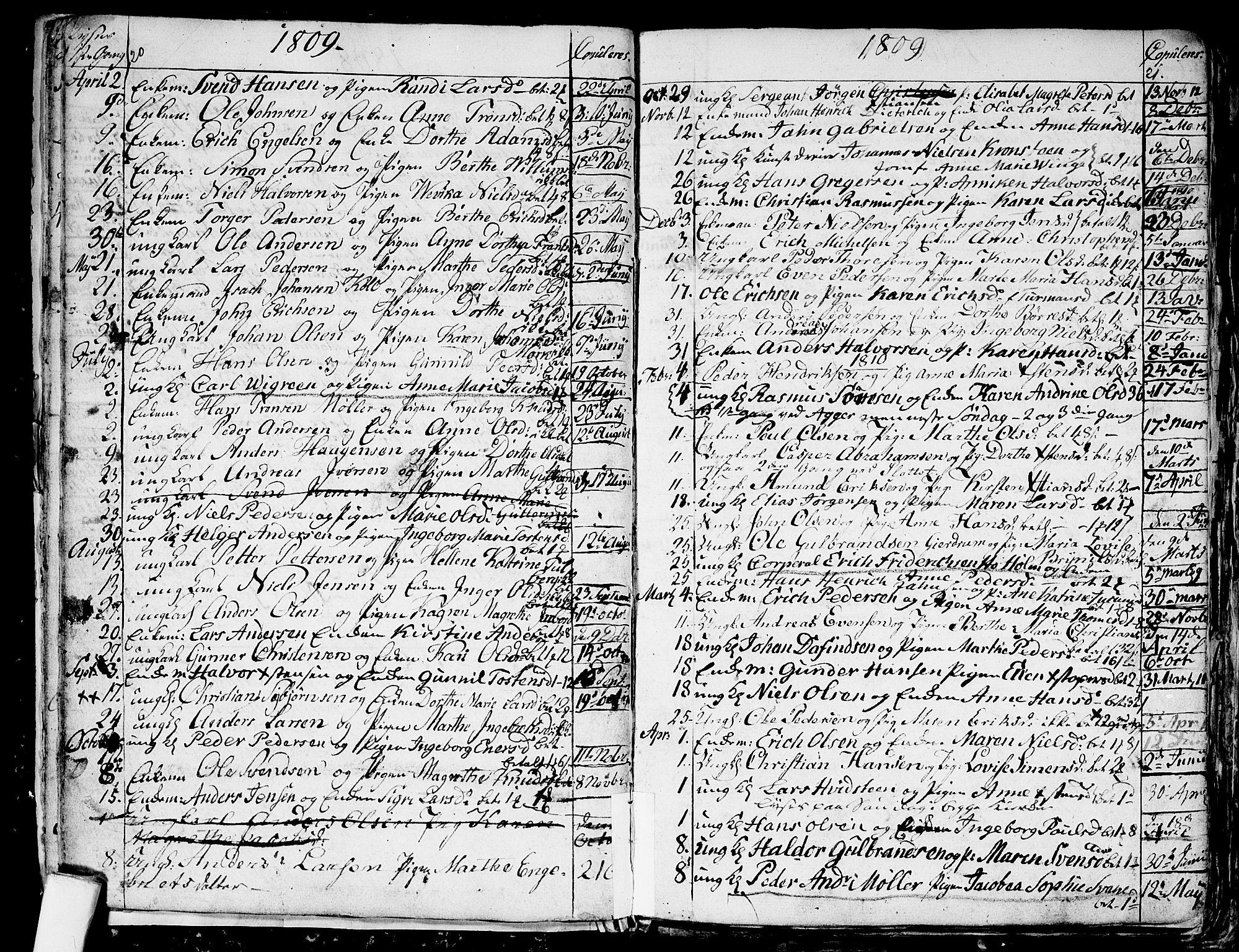 SAO, Aker prestekontor kirkebøker, G/L0001: Klokkerbok nr. 1, 1796-1826, s. 20-21
