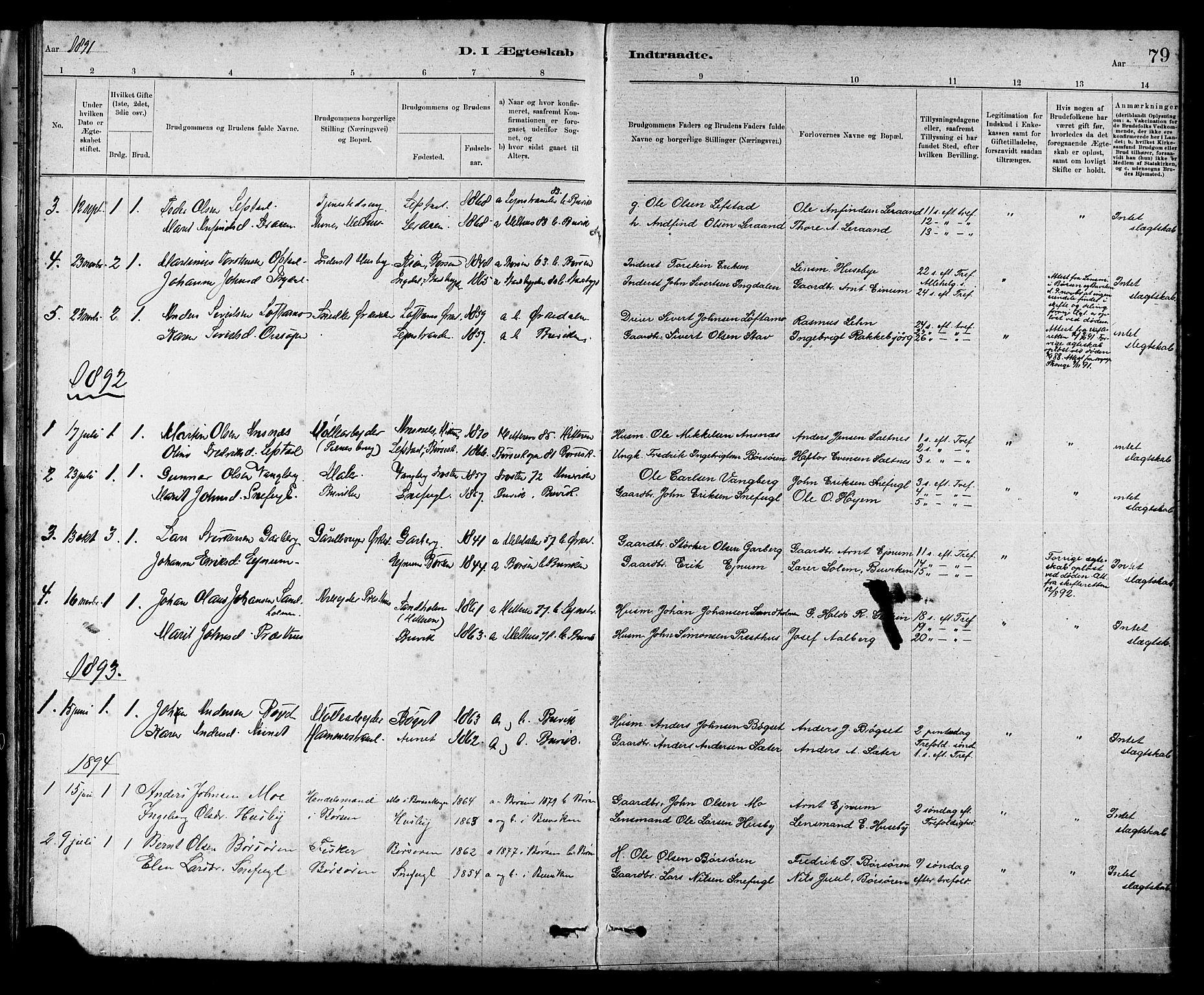 SAT, Ministerialprotokoller, klokkerbøker og fødselsregistre - Sør-Trøndelag, 666/L0790: Klokkerbok nr. 666C03, 1885-1908, s. 79
