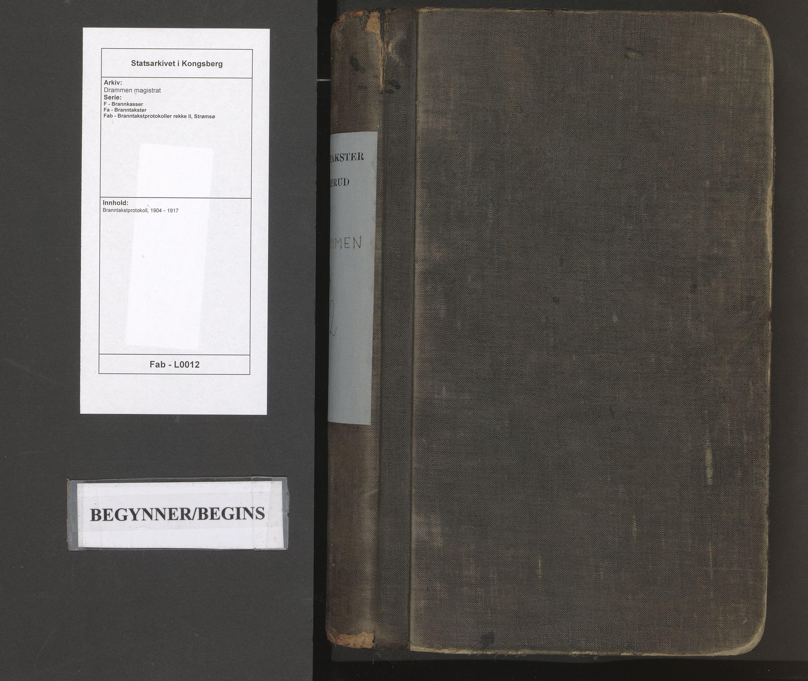 SAKO, Drammen magistrat, F/Fa/Fab/L0012: Branntakstprotokoll, 1904-1917