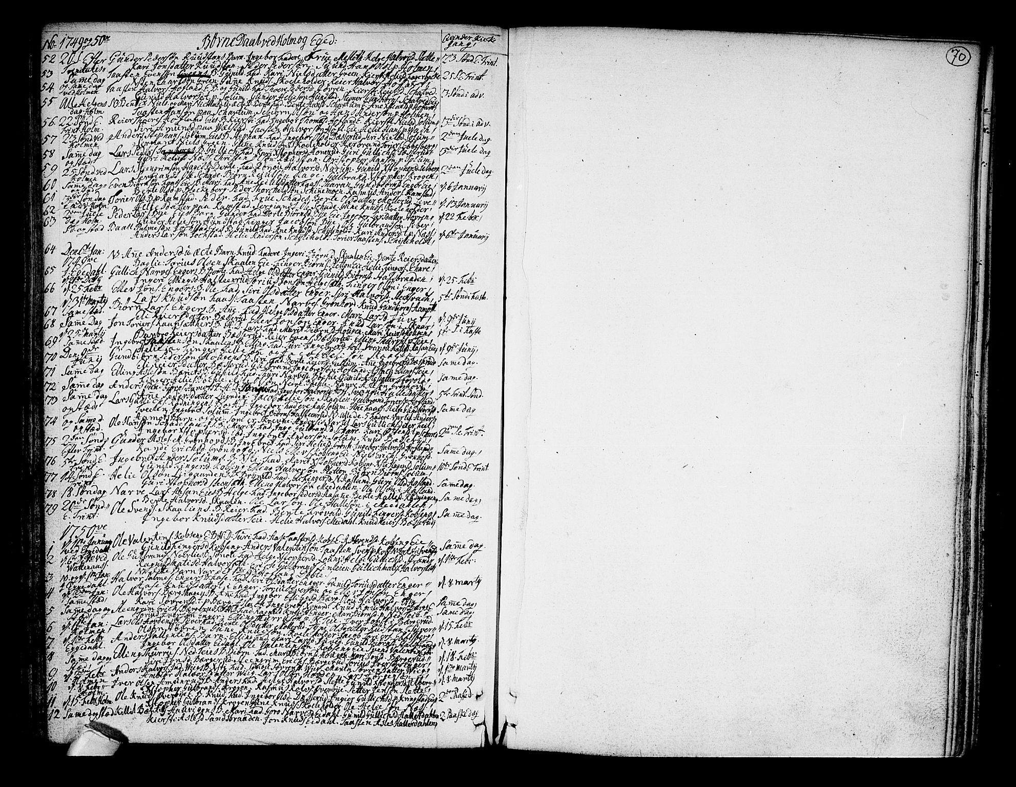 SAKO, Sigdal kirkebøker, F/Fa/L0001: Ministerialbok nr. I 1, 1722-1777, s. 70