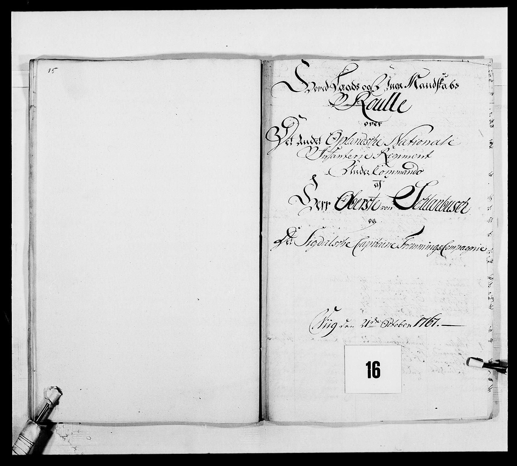 RA, Kommanderende general (KG I) med Det norske krigsdirektorium, E/Ea/L0507: 2. Opplandske regiment, 1766-1767, s. 339
