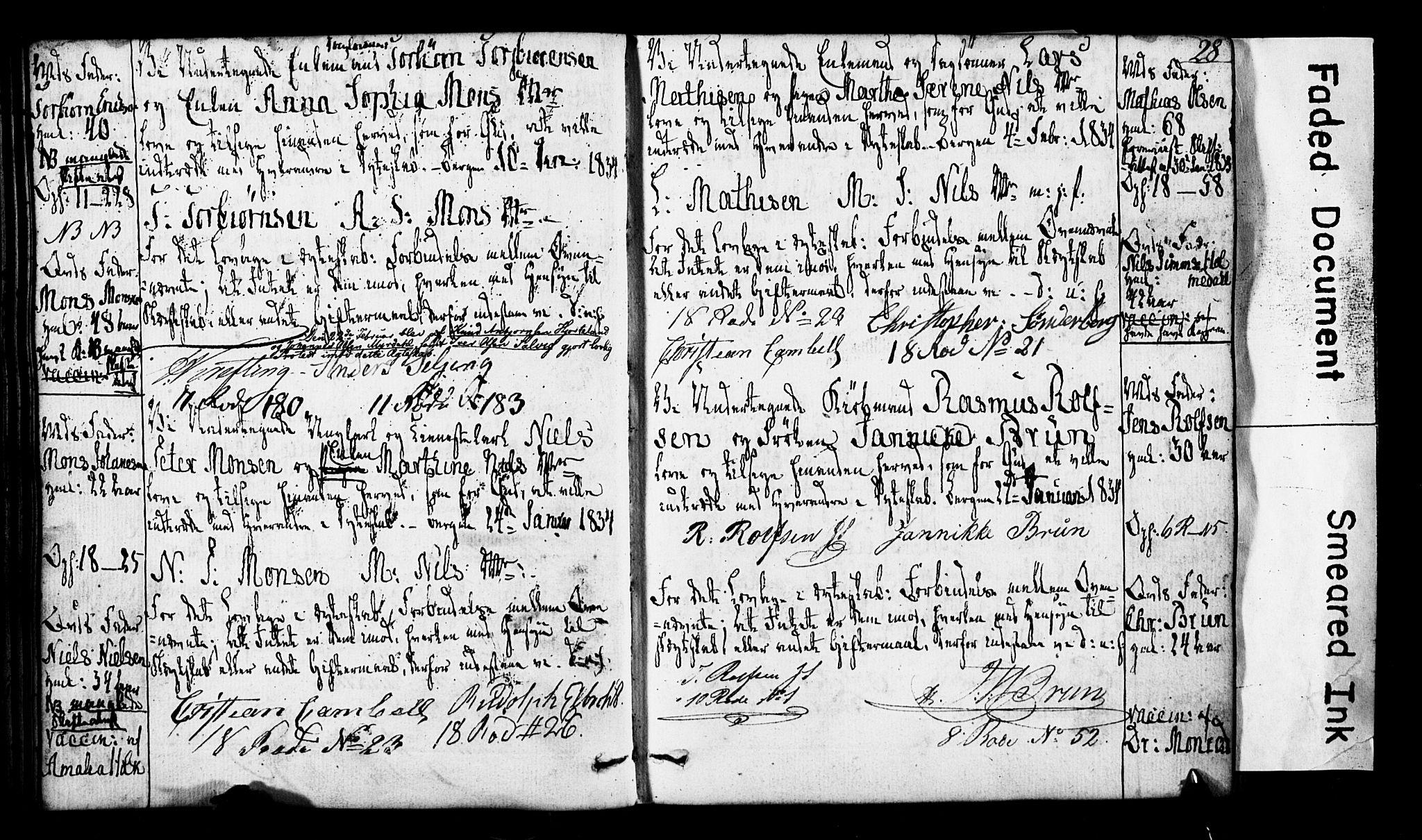 SAB, Domkirken Sokneprestembete, Forlovererklæringer nr. II.5.3, 1832-1845, s. 28