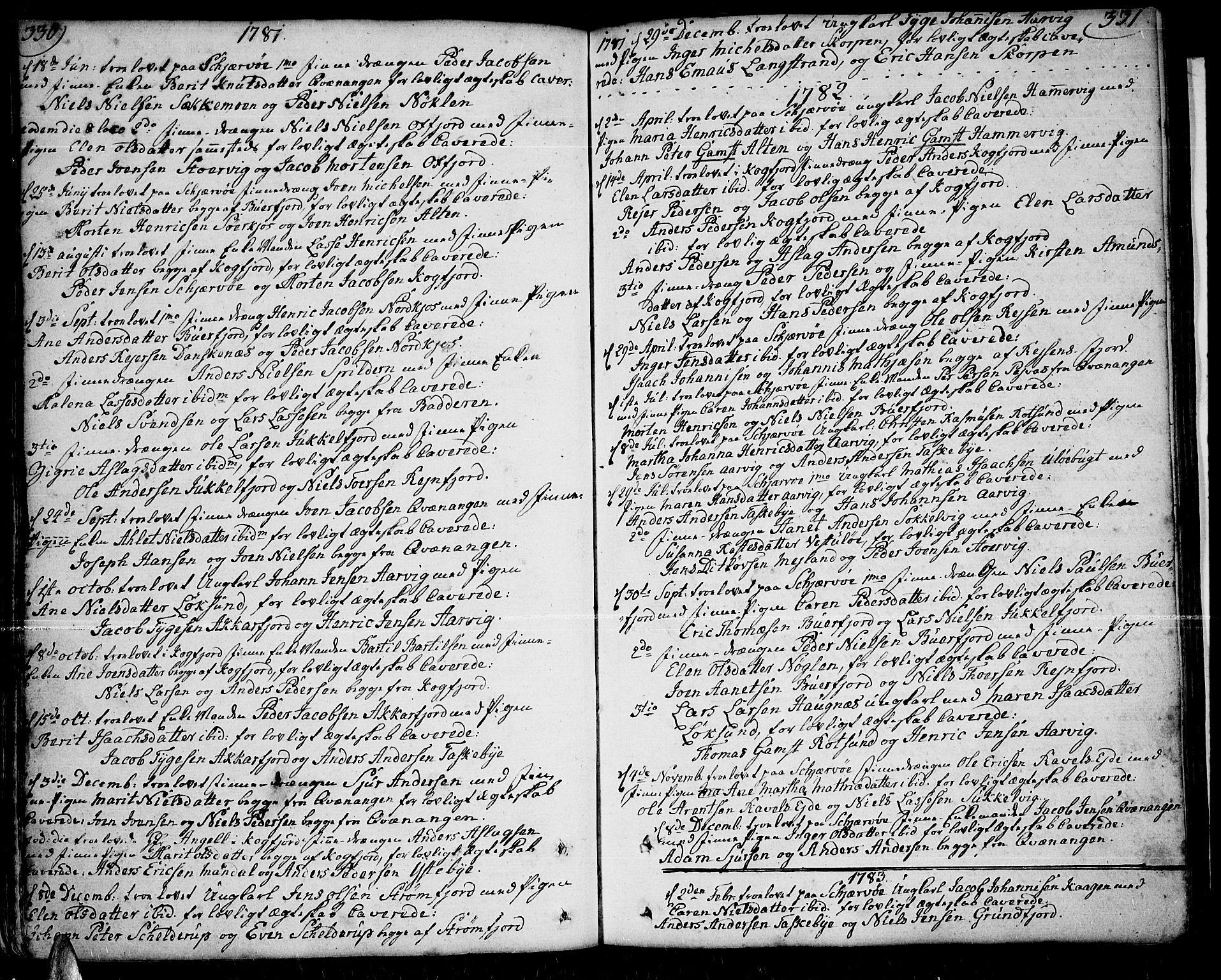 SATØ, Skjervøy sokneprestkontor, H/Ha/Haa/L0002kirke: Ministerialbok nr. 2, 1781-1817, s. 330-331