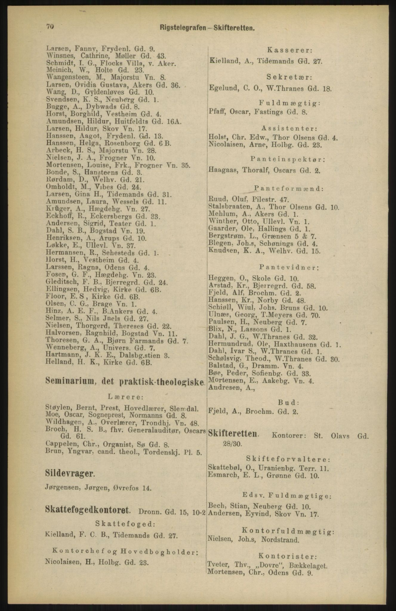 RA, Kristiania adressebok (publikasjon)*, 1904, s. 70