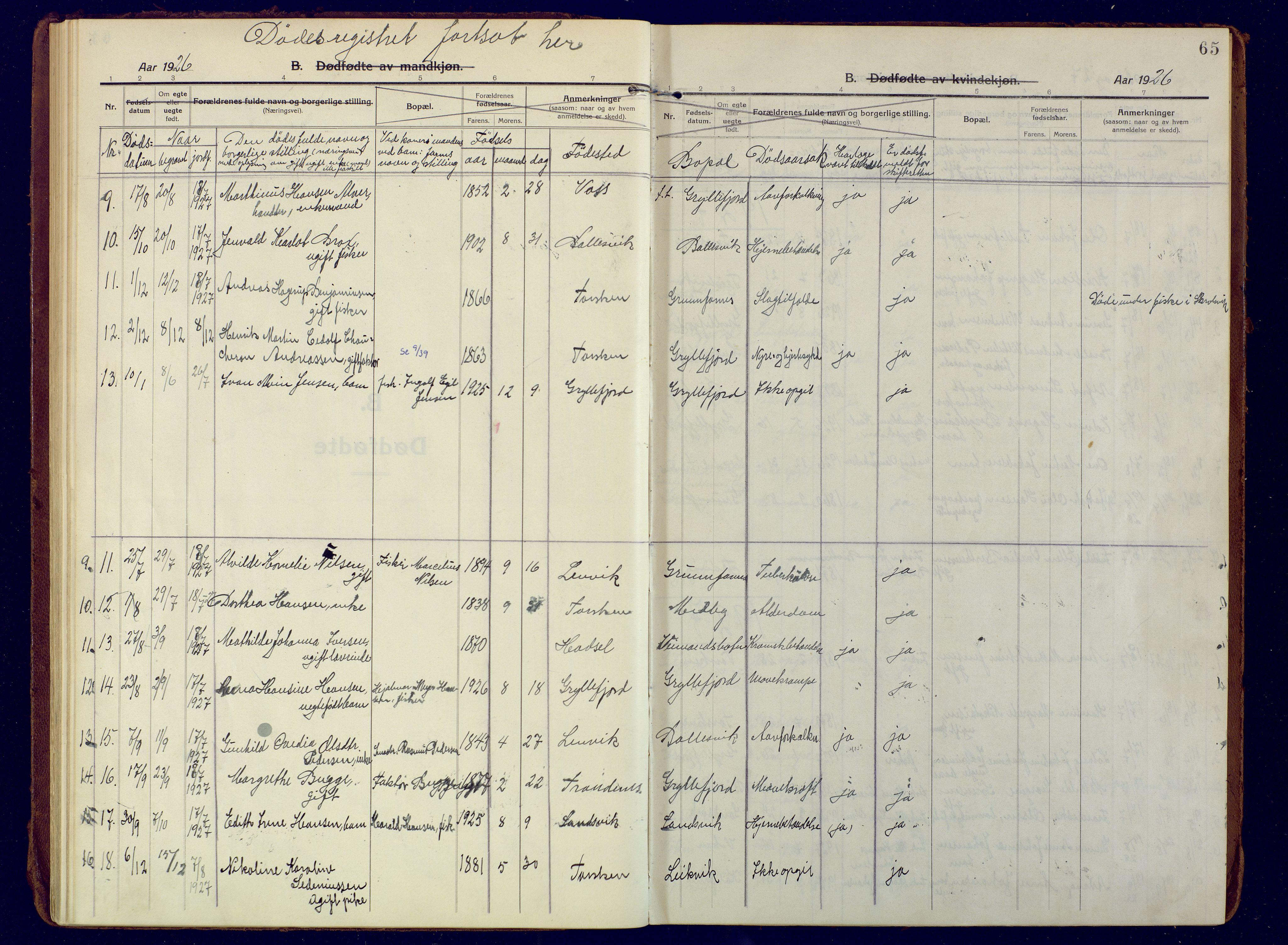 SATØ, Mefjord/Berg sokneprestkontor, G/Ga/Gaa: Ministerialbok nr. 10, 1916-1928, s. 65