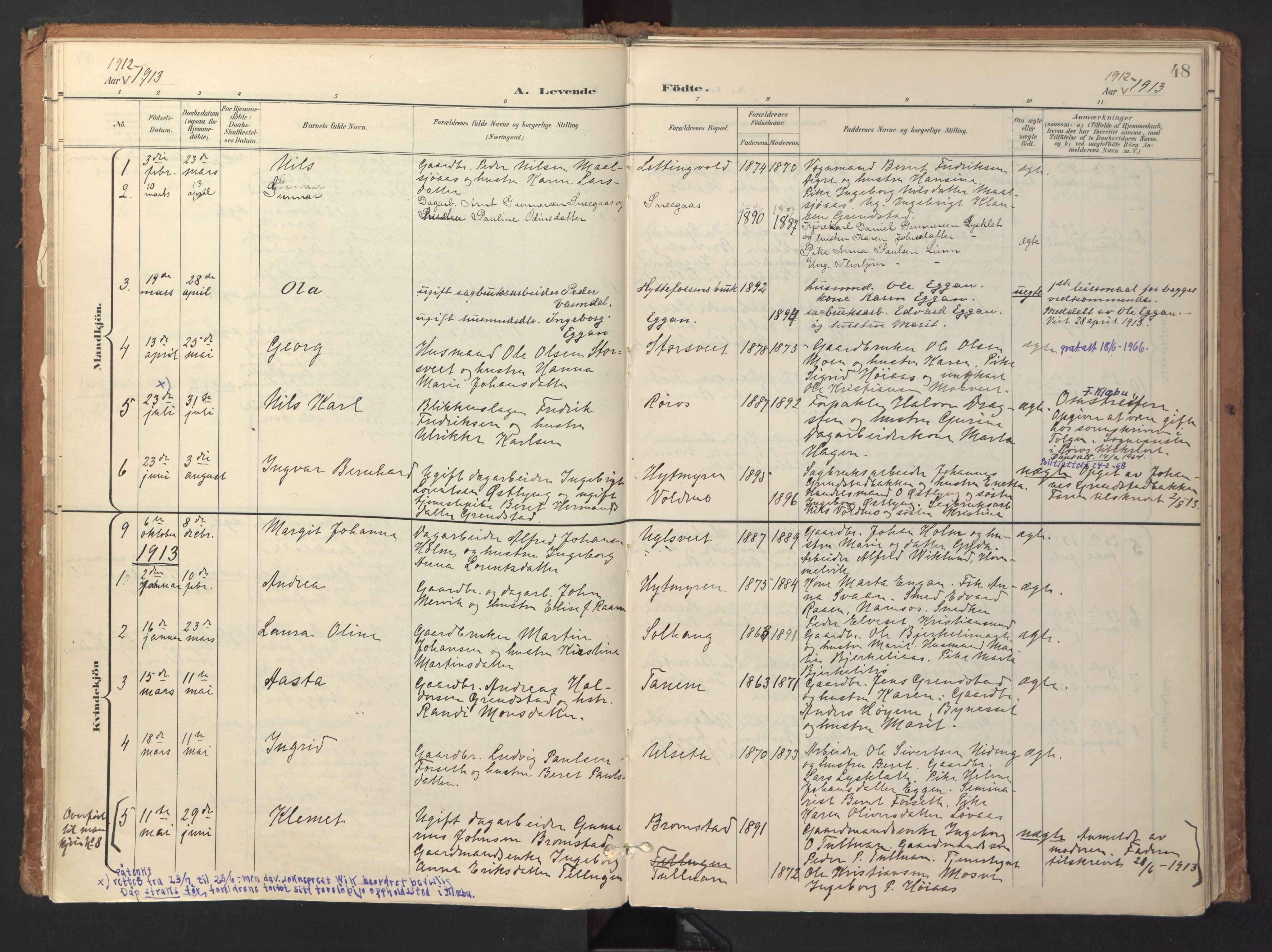 SAT, Ministerialprotokoller, klokkerbøker og fødselsregistre - Sør-Trøndelag, 618/L0448: Ministerialbok nr. 618A11, 1898-1916, s. 48