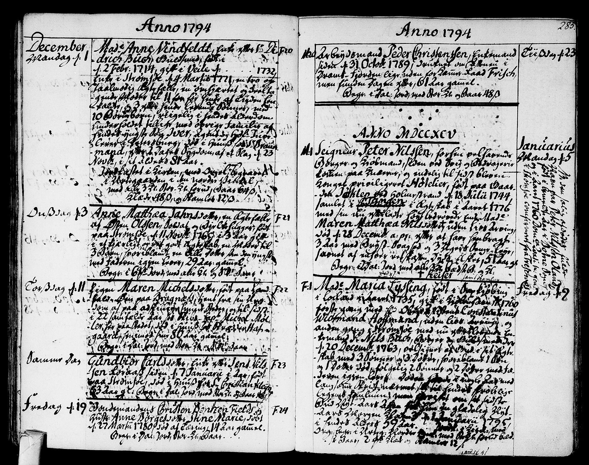 SAKO, Strømsø kirkebøker, F/Fa/L0010: Ministerialbok nr. I 10, 1792-1822, s. 285