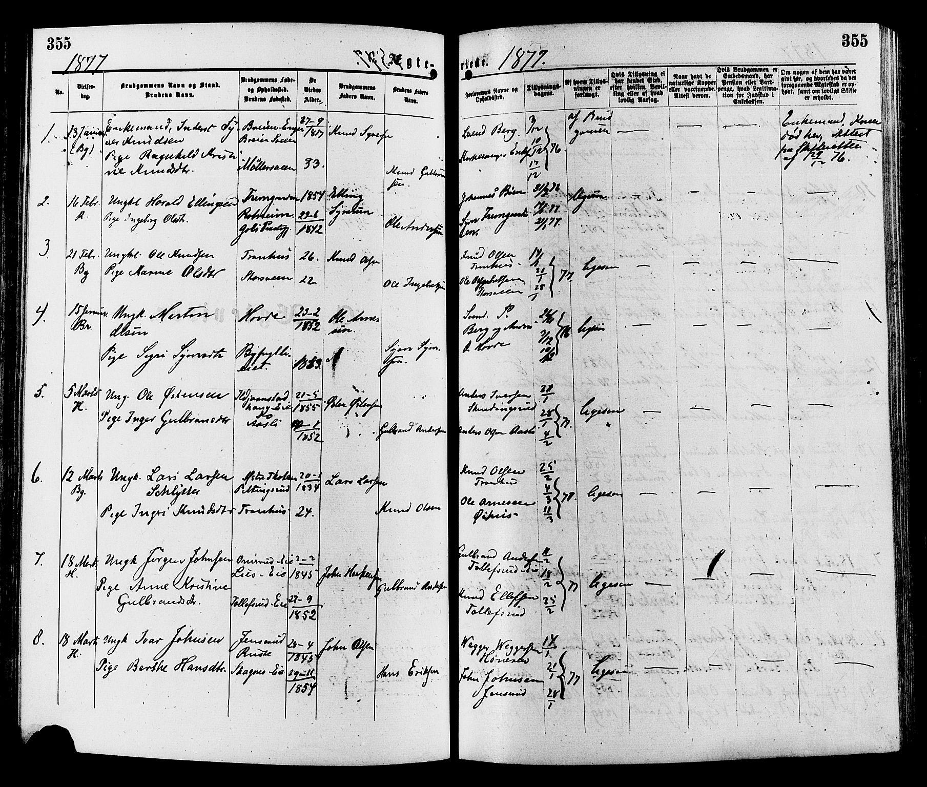 SAH, Sør-Aurdal prestekontor, Ministerialbok nr. 8, 1877-1885, s. 355