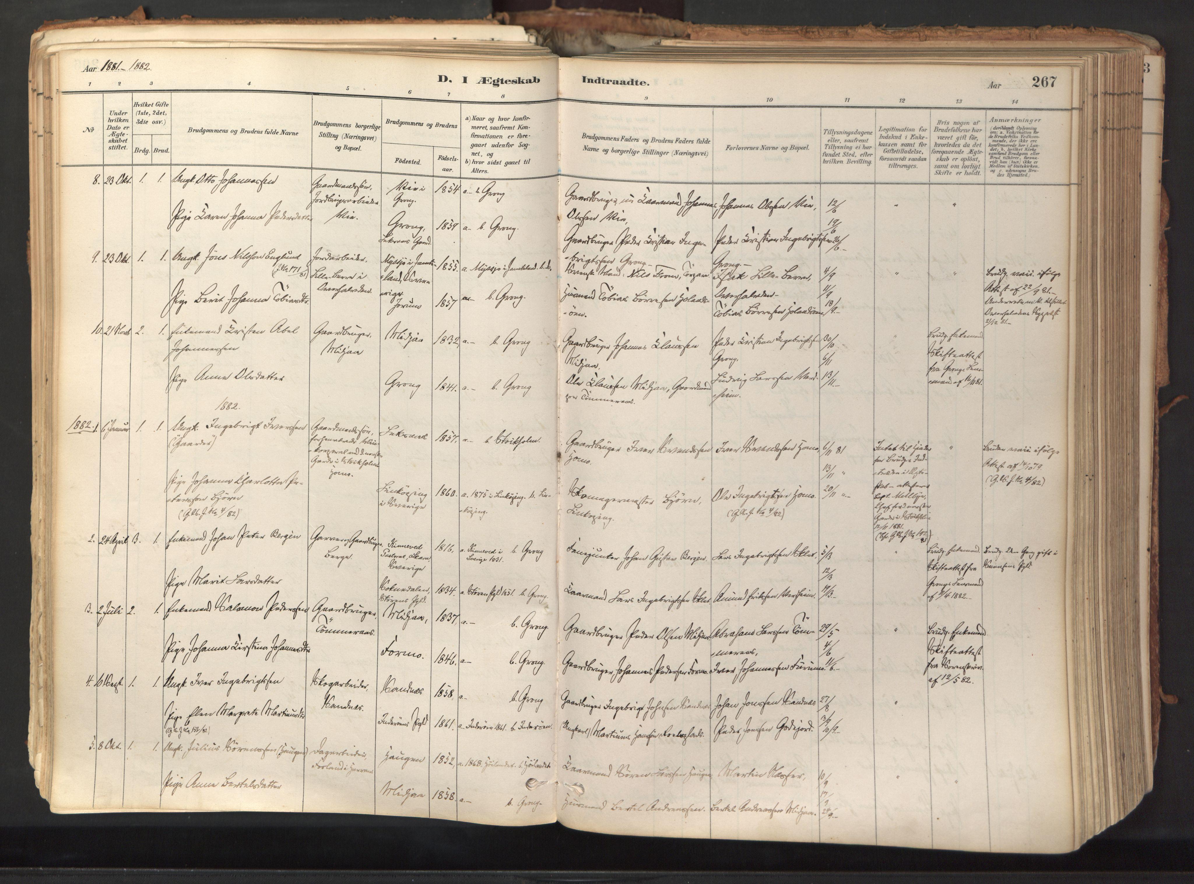 SAT, Ministerialprotokoller, klokkerbøker og fødselsregistre - Nord-Trøndelag, 758/L0519: Ministerialbok nr. 758A04, 1880-1926, s. 267