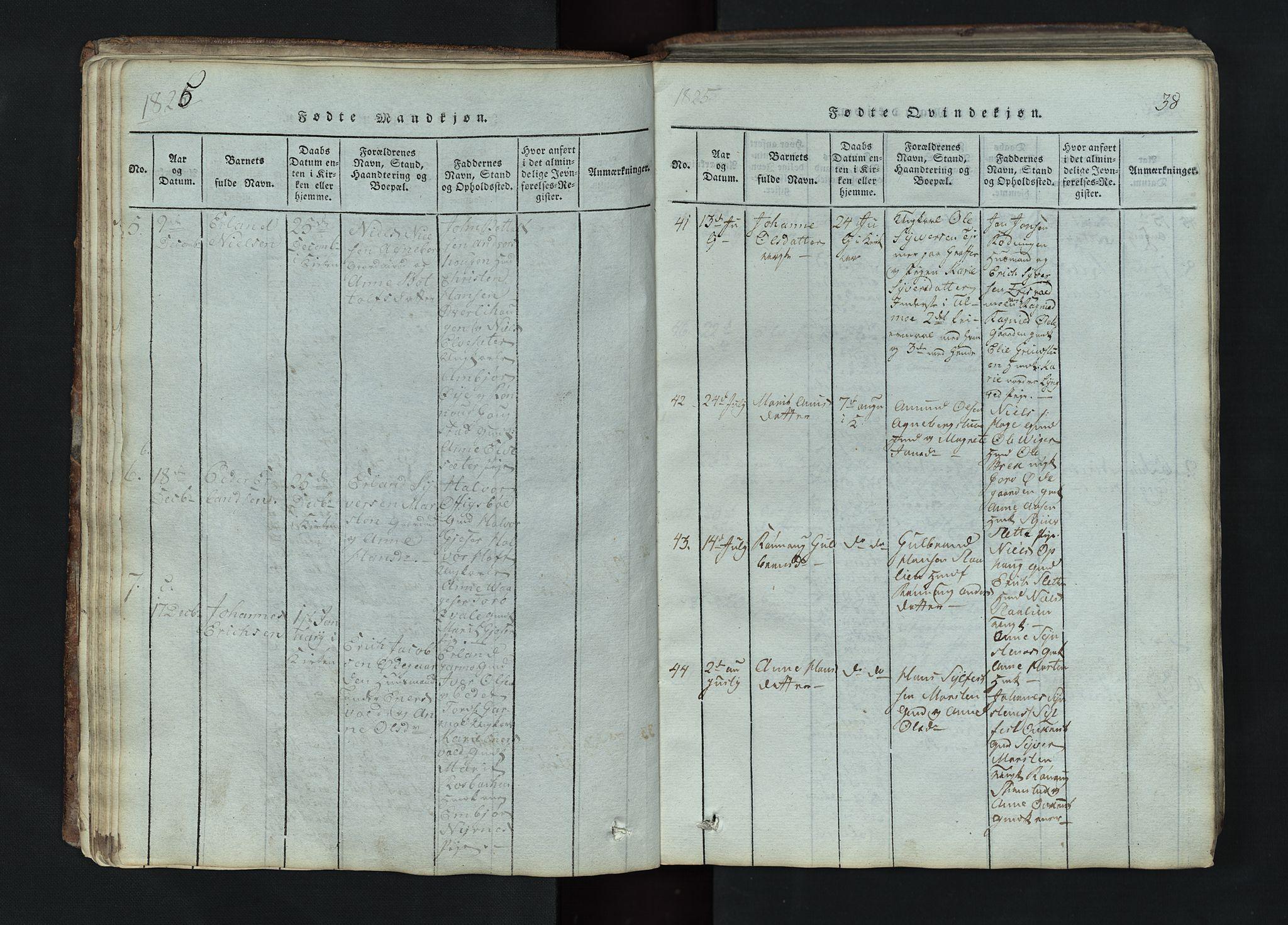 SAH, Lom prestekontor, L/L0002: Klokkerbok nr. 2, 1815-1844, s. 38