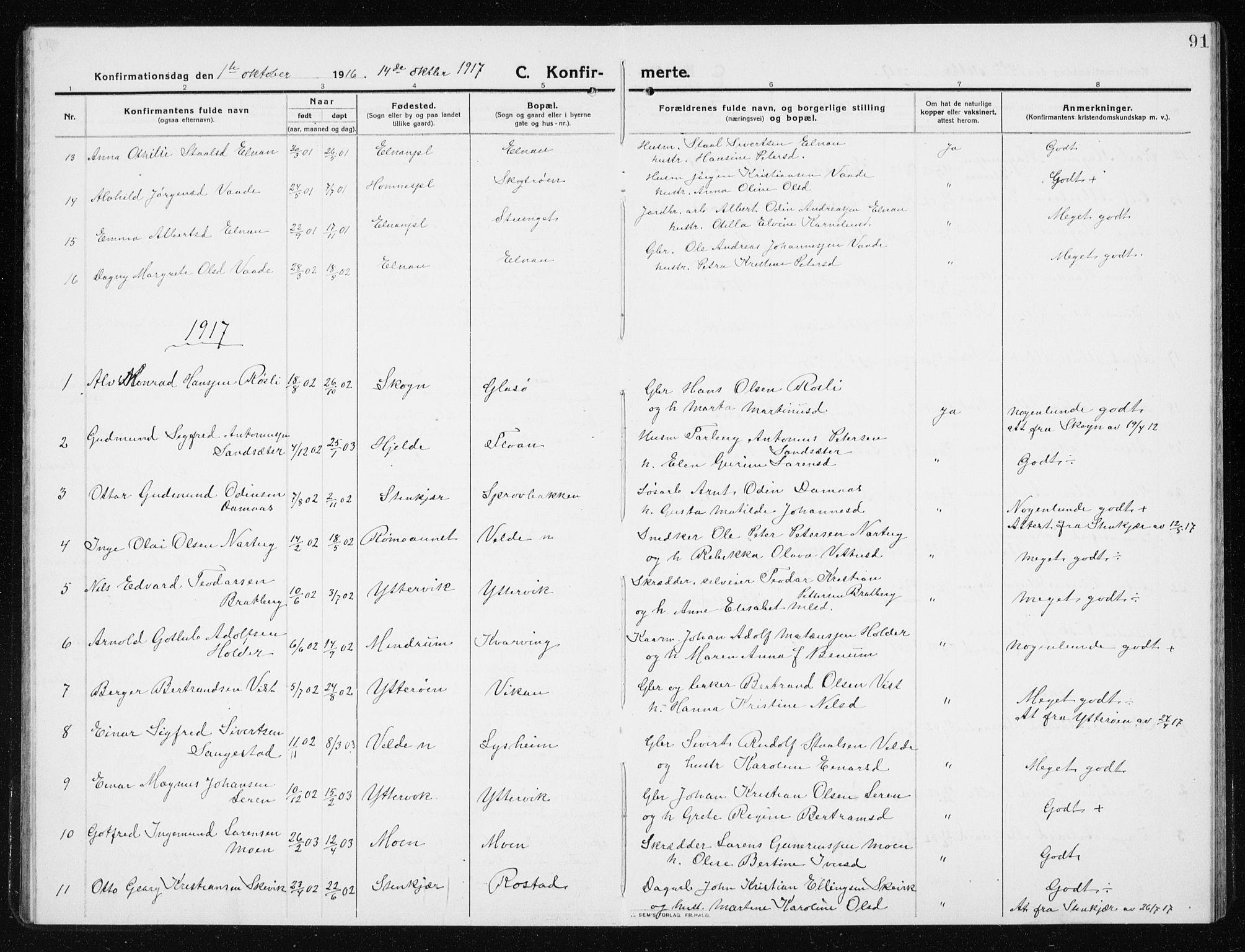 SAT, Ministerialprotokoller, klokkerbøker og fødselsregistre - Nord-Trøndelag, 741/L0402: Klokkerbok nr. 741C03, 1911-1926, s. 91