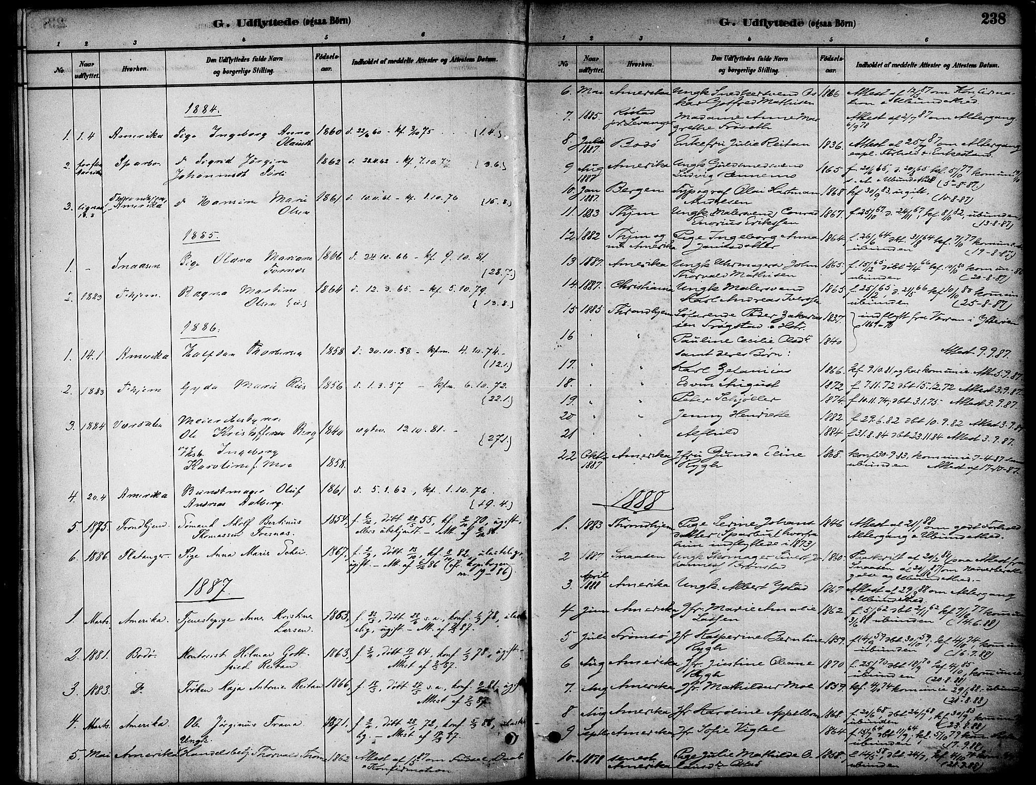 SAT, Ministerialprotokoller, klokkerbøker og fødselsregistre - Nord-Trøndelag, 739/L0371: Ministerialbok nr. 739A03, 1881-1895, s. 238